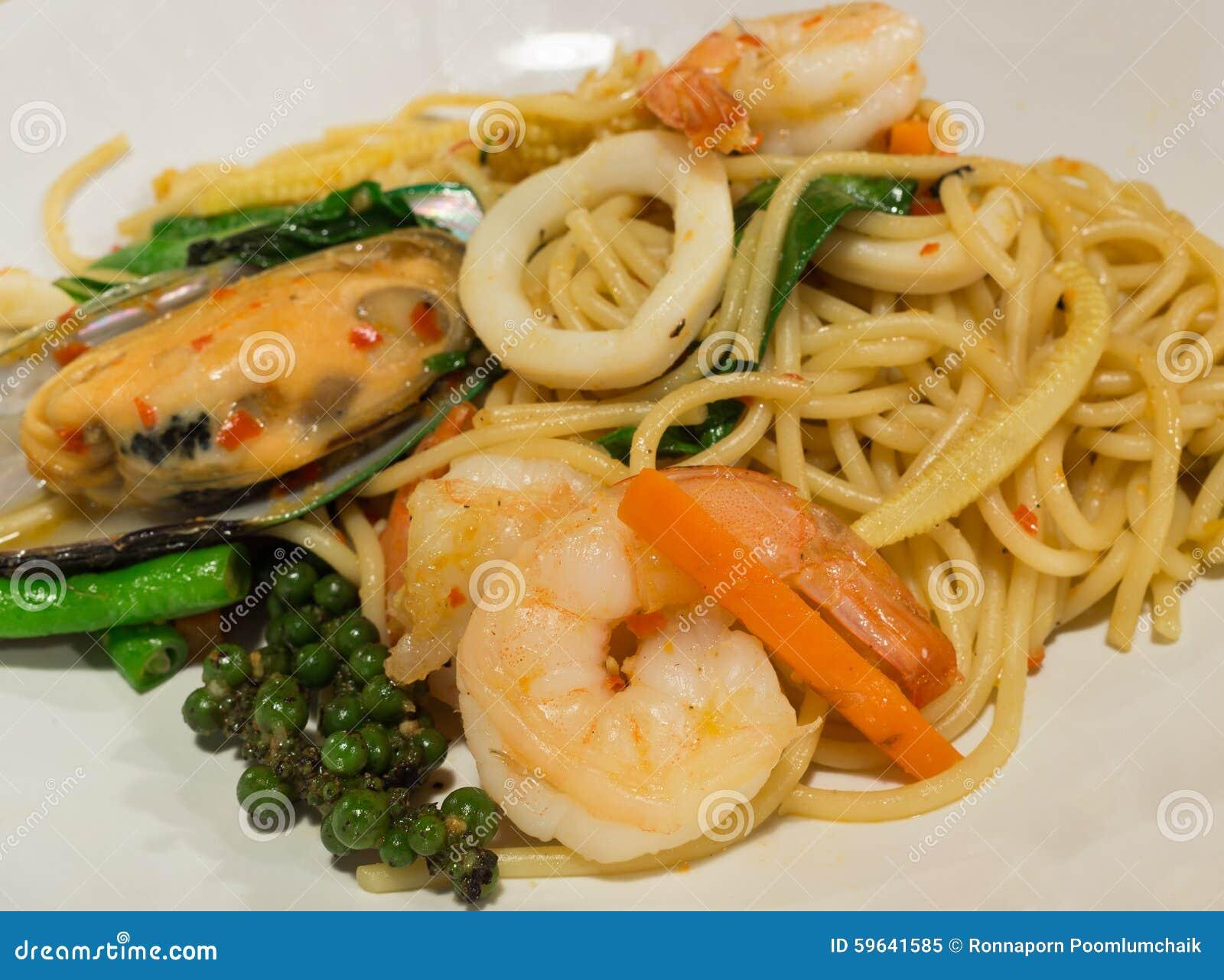 Camarón borracho de la salsa de espagueti, foco del camarón
