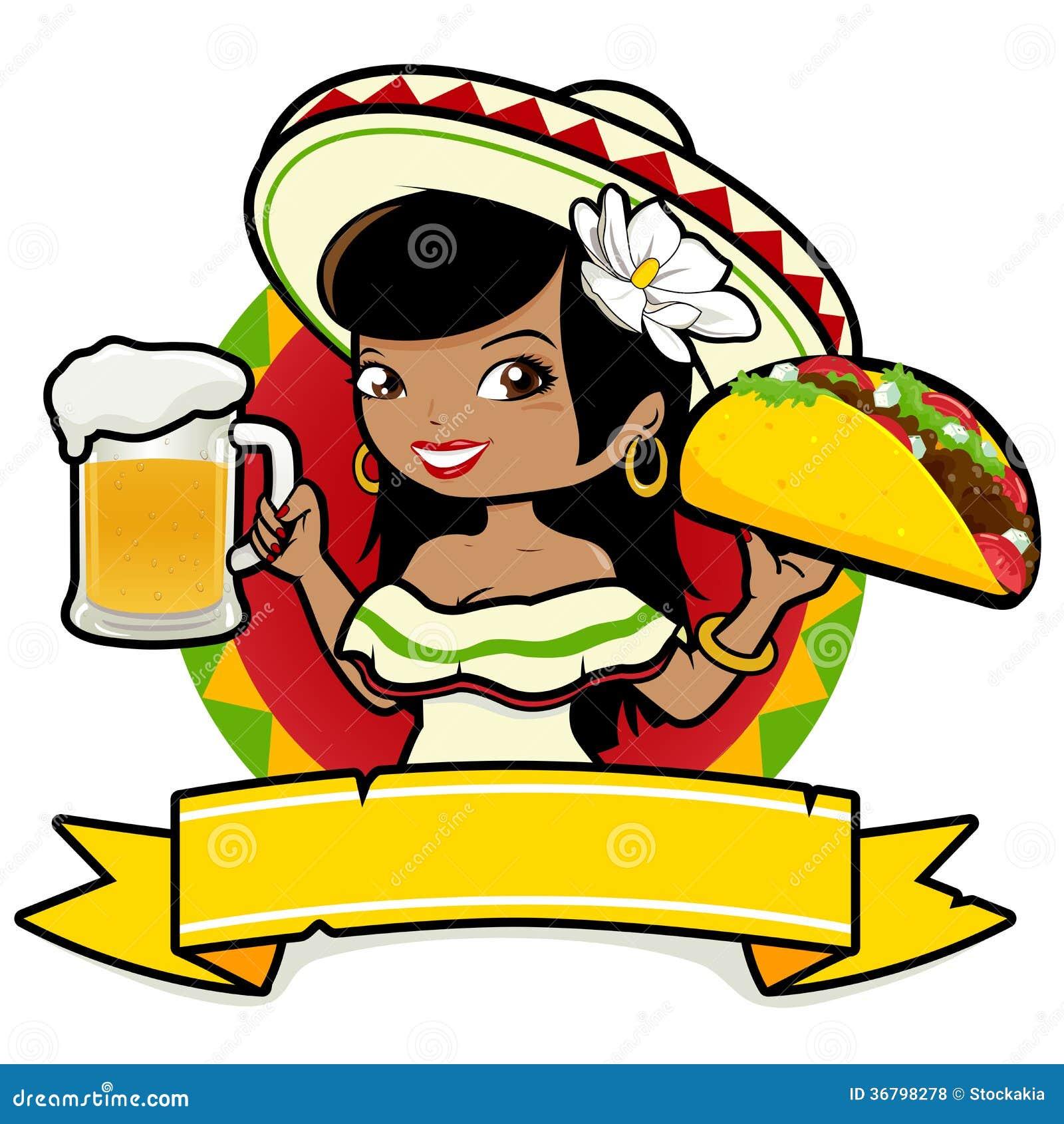 Camarera mexicana de la mujer que sostiene la cerveza y el for Carritos y camareras de cocina