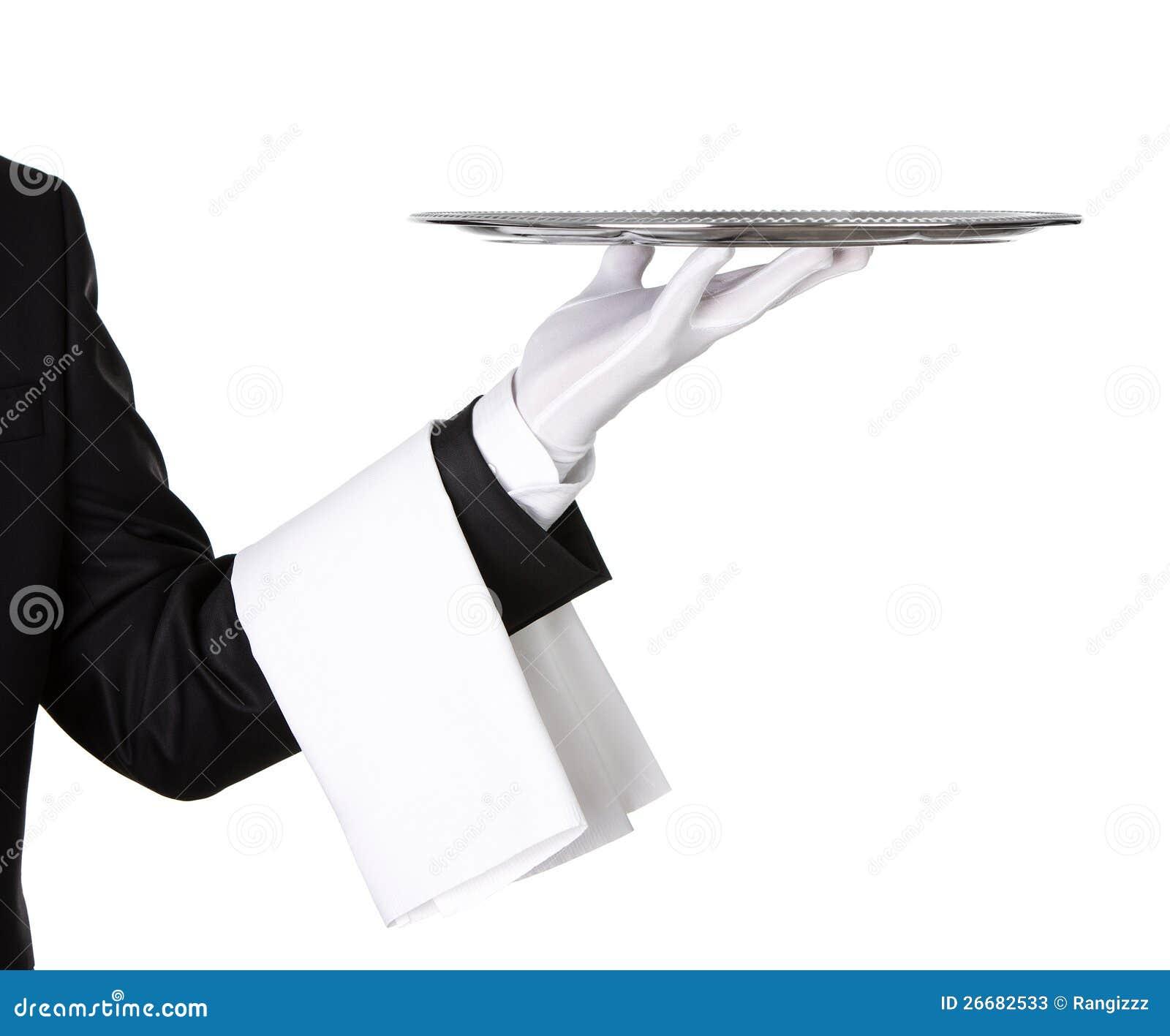 Camarero con la bandeja de plata vacía