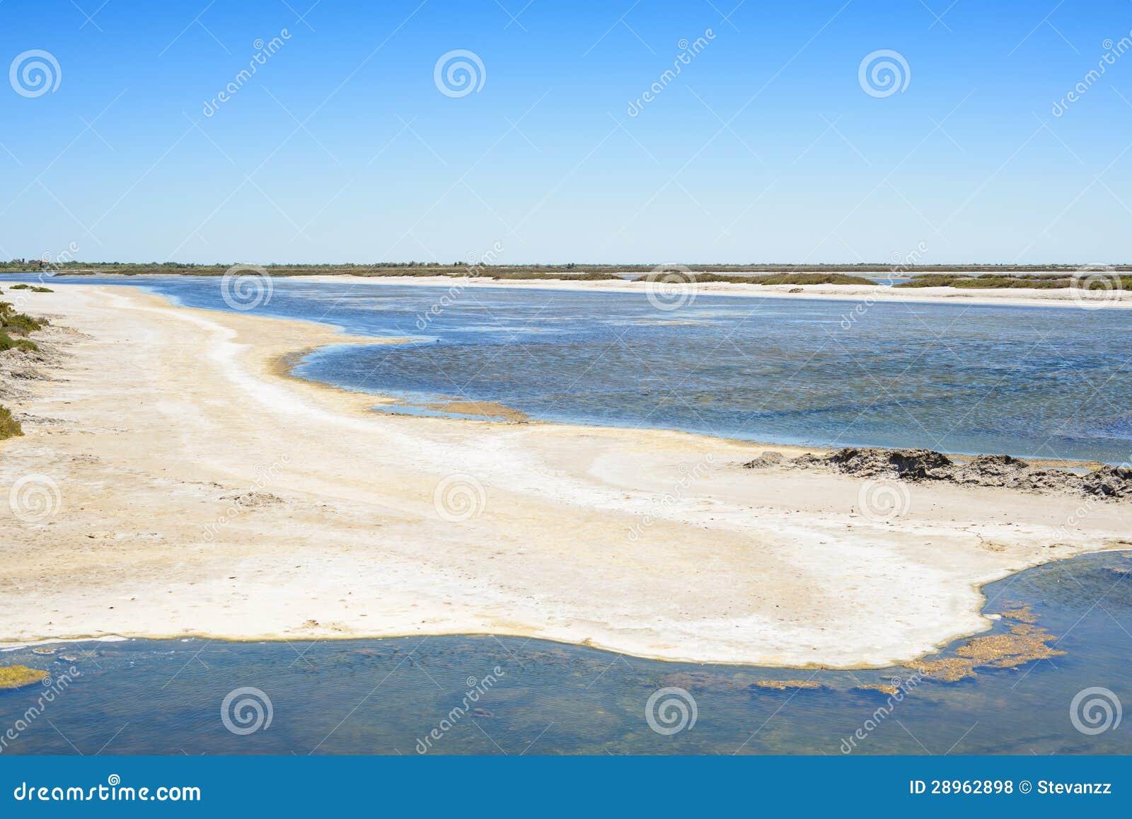 Camargue, Giraud menchii soli mieszkań krajobraz. Rhone, Provence, Fra