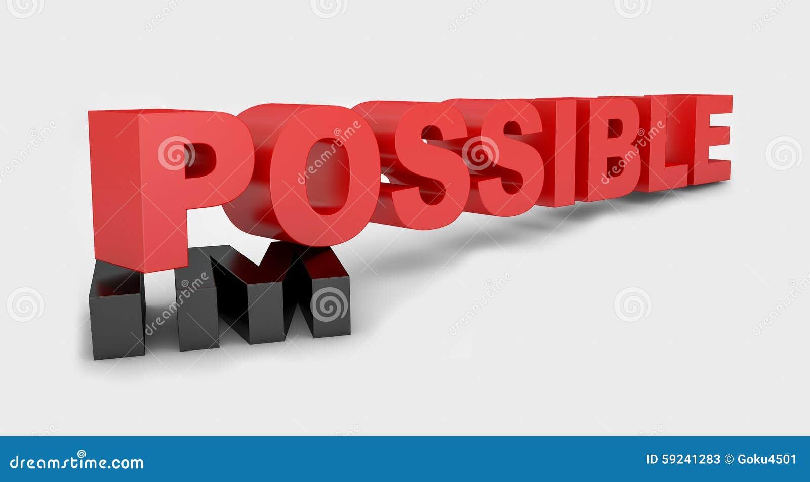 Cambiando la palabra roja imposible a posible en fondo
