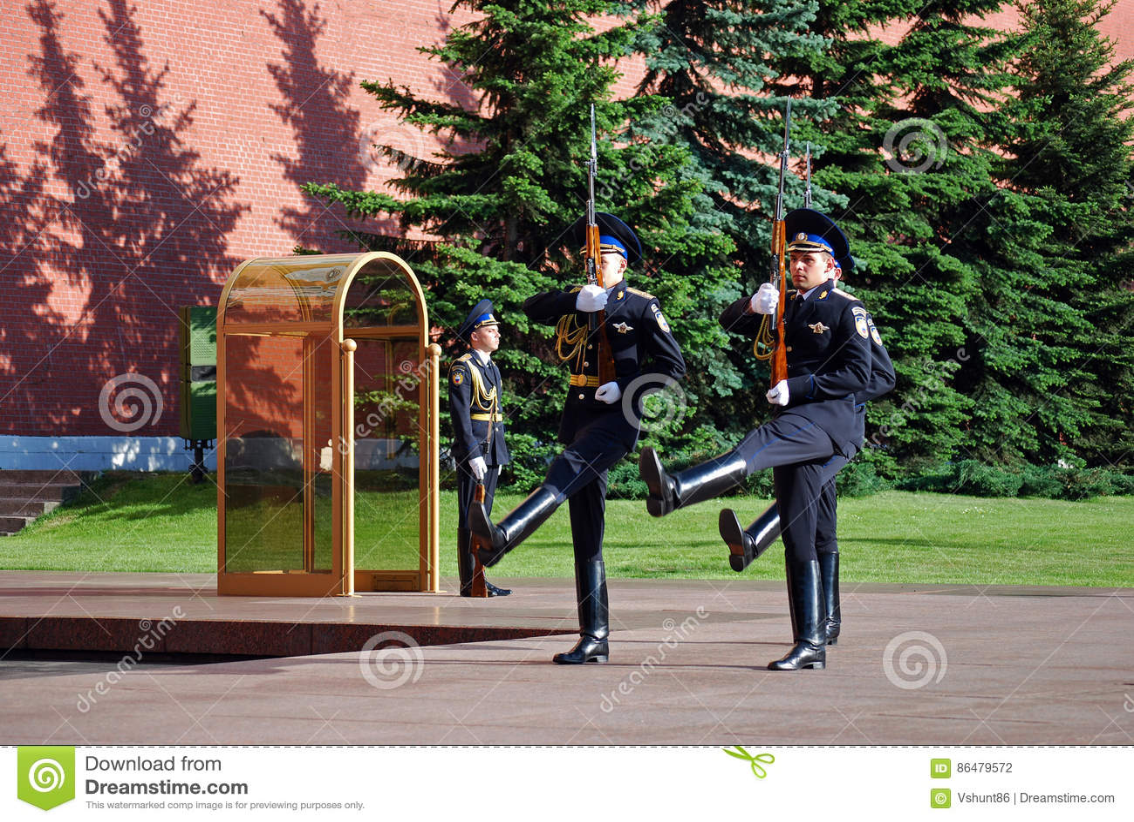 Cambio del guardia en la tumba del soldado desconocido en Aleksandrovsk a un jardín moscú