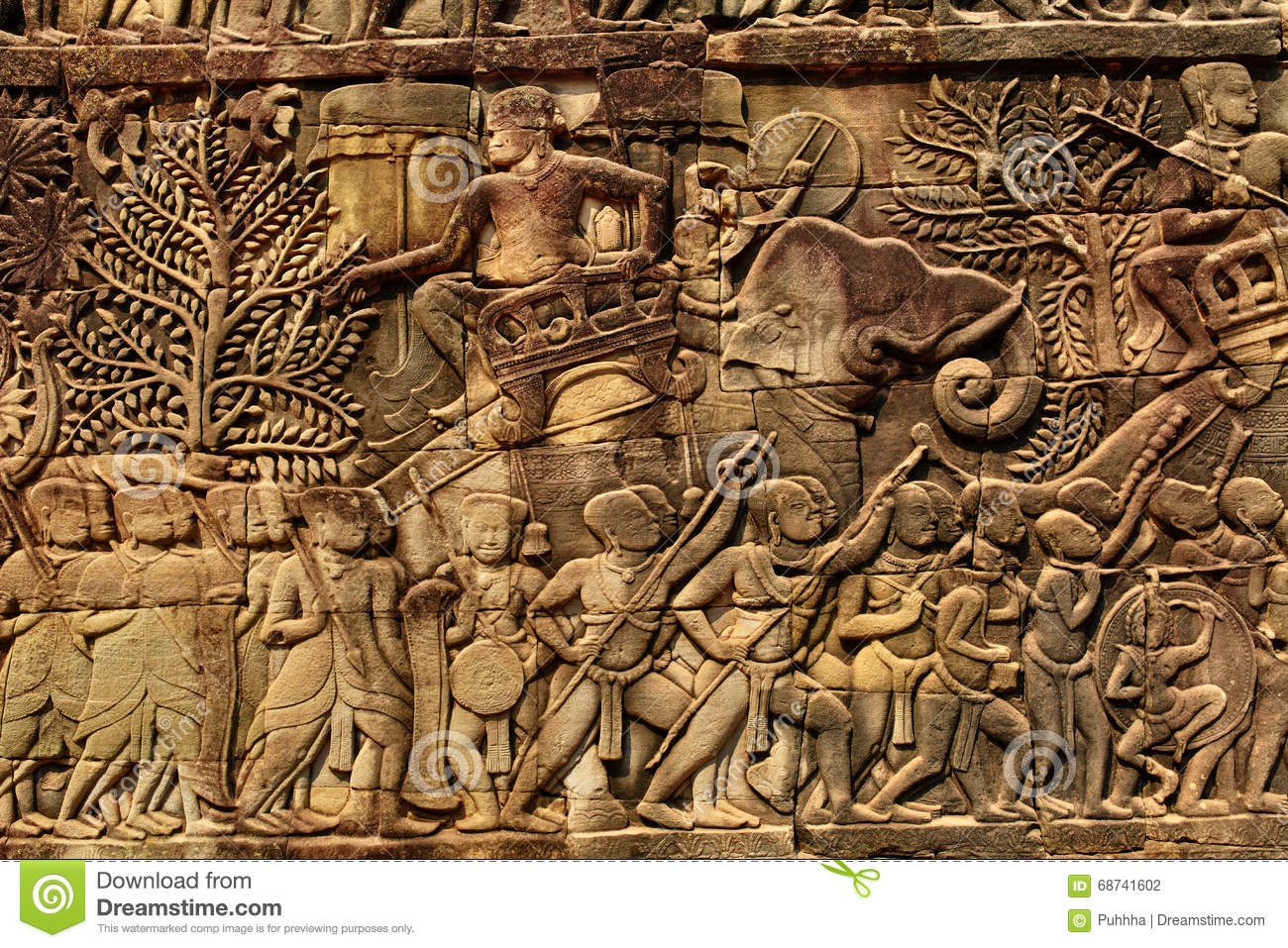 Cambodia architecture bayon khmer temple bas relief