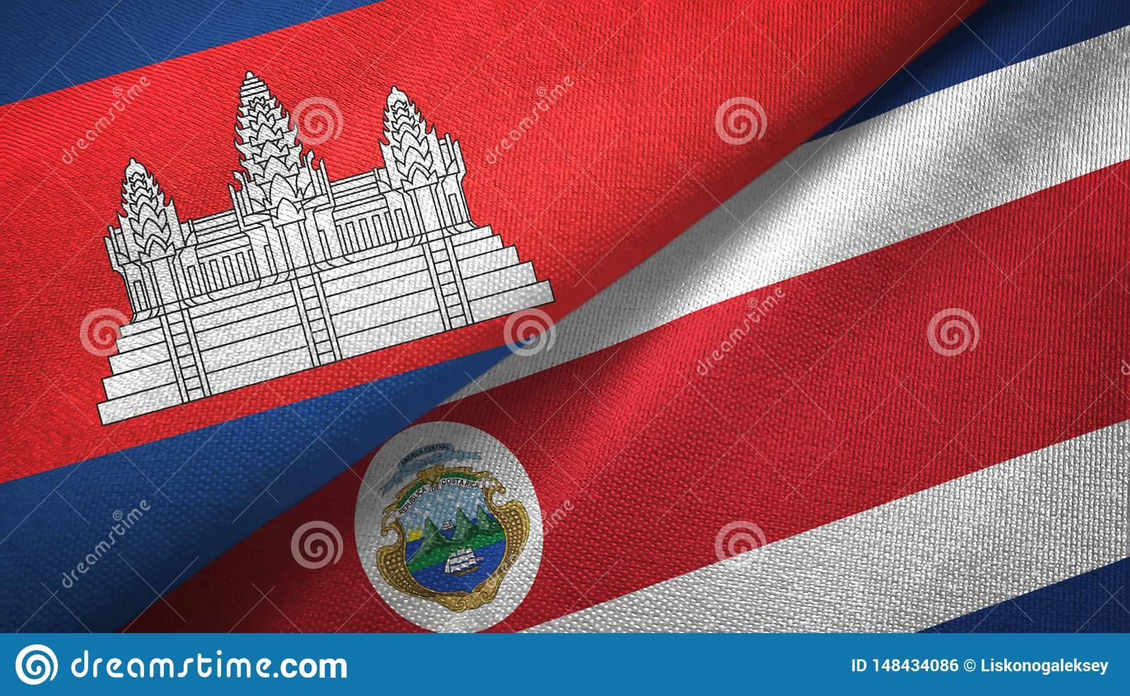 Cambodia and Costa Rica two flags textile cloth, fabric texture