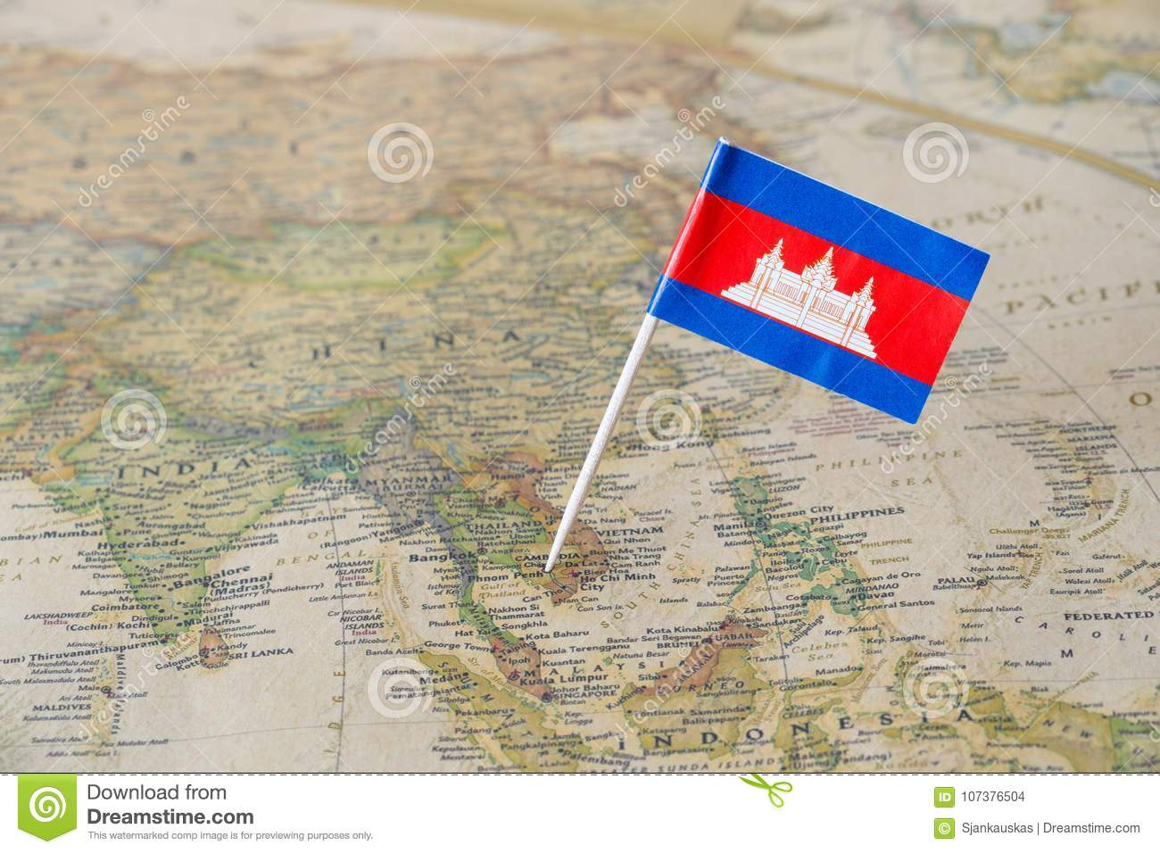 Cambodia flag on a map
