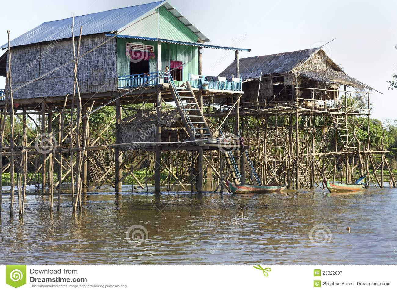 Cambodia stilt houses editorial photography image of for Lake house plans on stilts