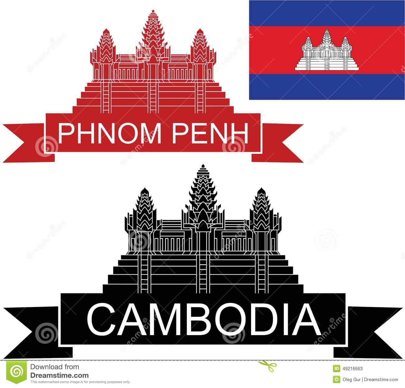 Black silhouette angkor wat illustration royalty free cliparts.