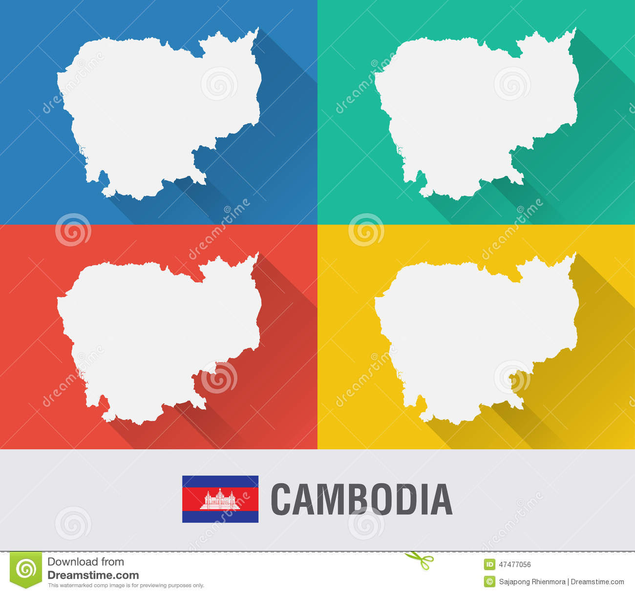 Cambodia World Map In Flat Style With 4 Colors. Stock Photo - Image ...