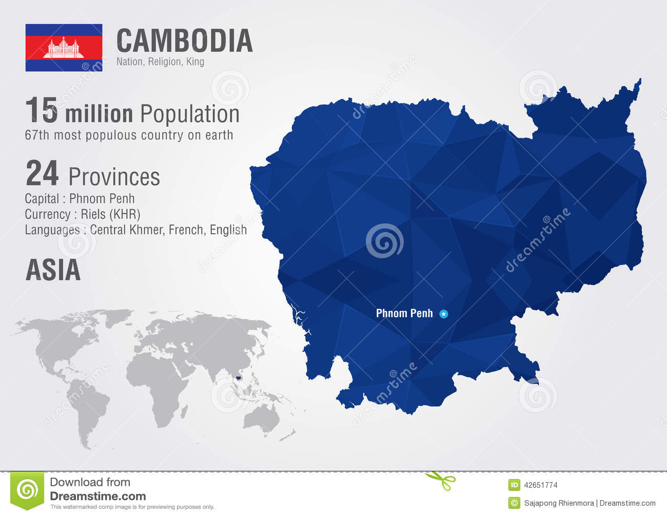 Cambodia World Map With A Pixel Diamond Texture Stock Vector