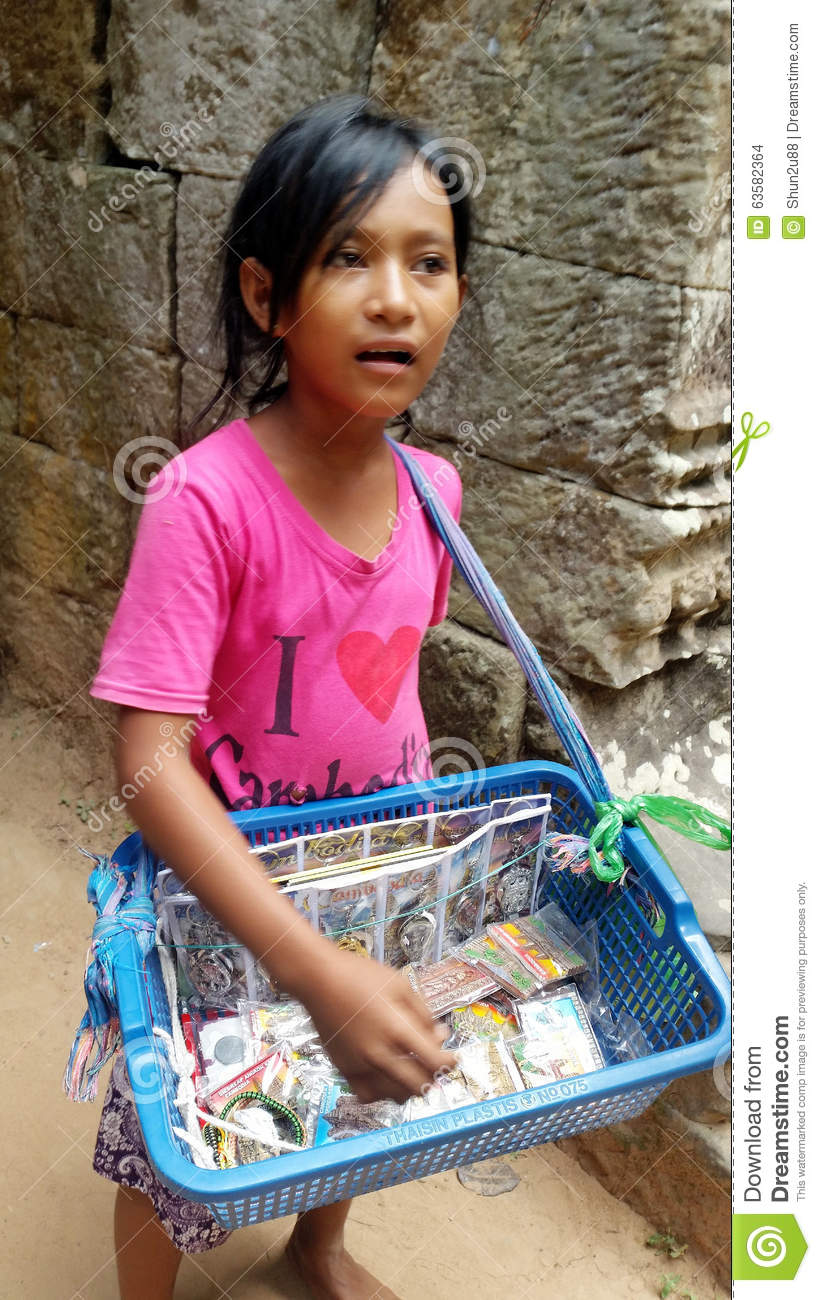 Cambodia child Cambodian Child Selling Souvenirs Editorial Stock Image