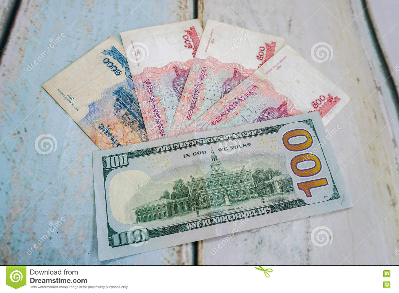 Cambodian Riels And American Dollar Usd Stock Image - Image