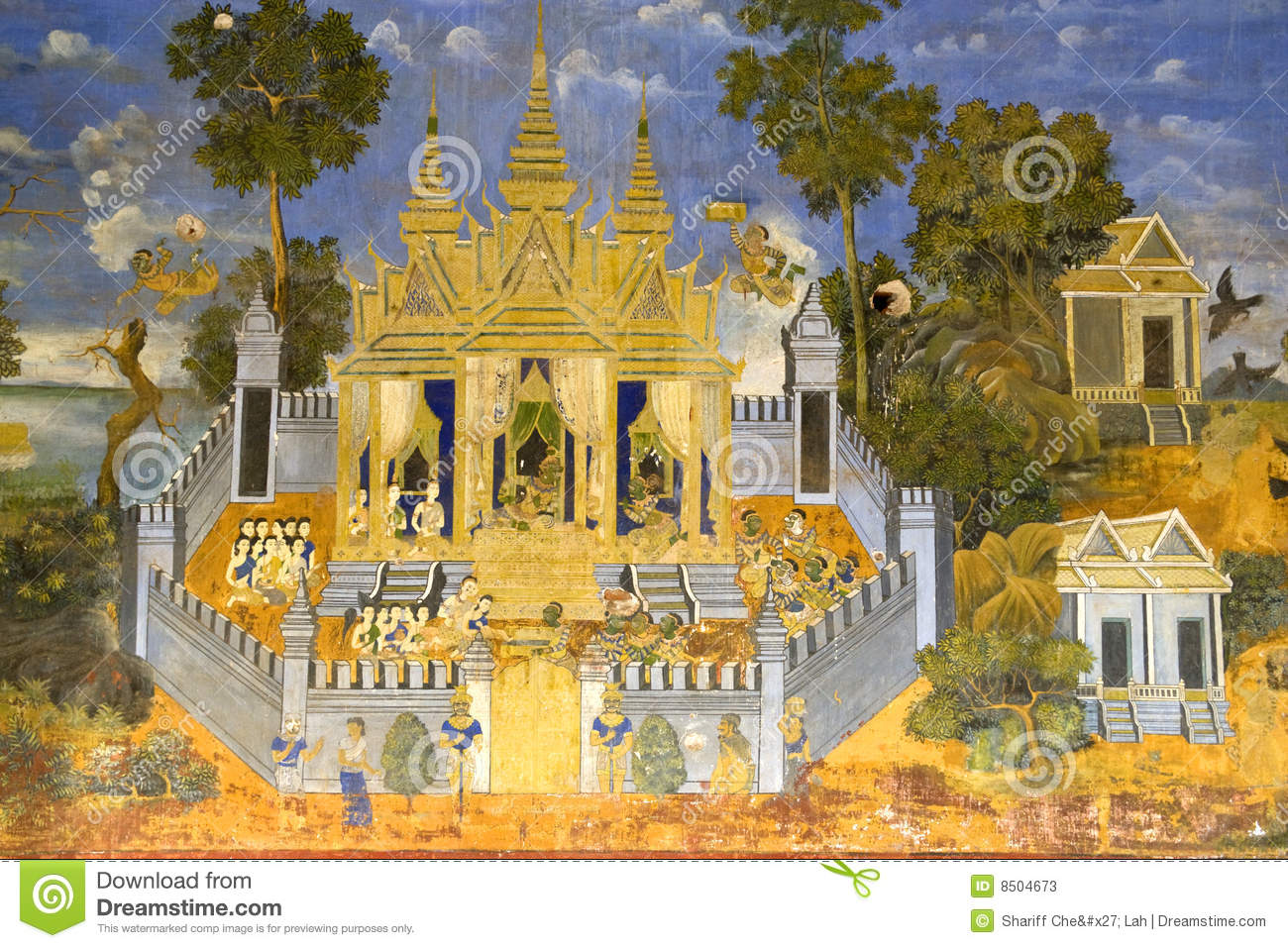 cambodian royal palace wall painting stock photos image 8504673. Black Bedroom Furniture Sets. Home Design Ideas