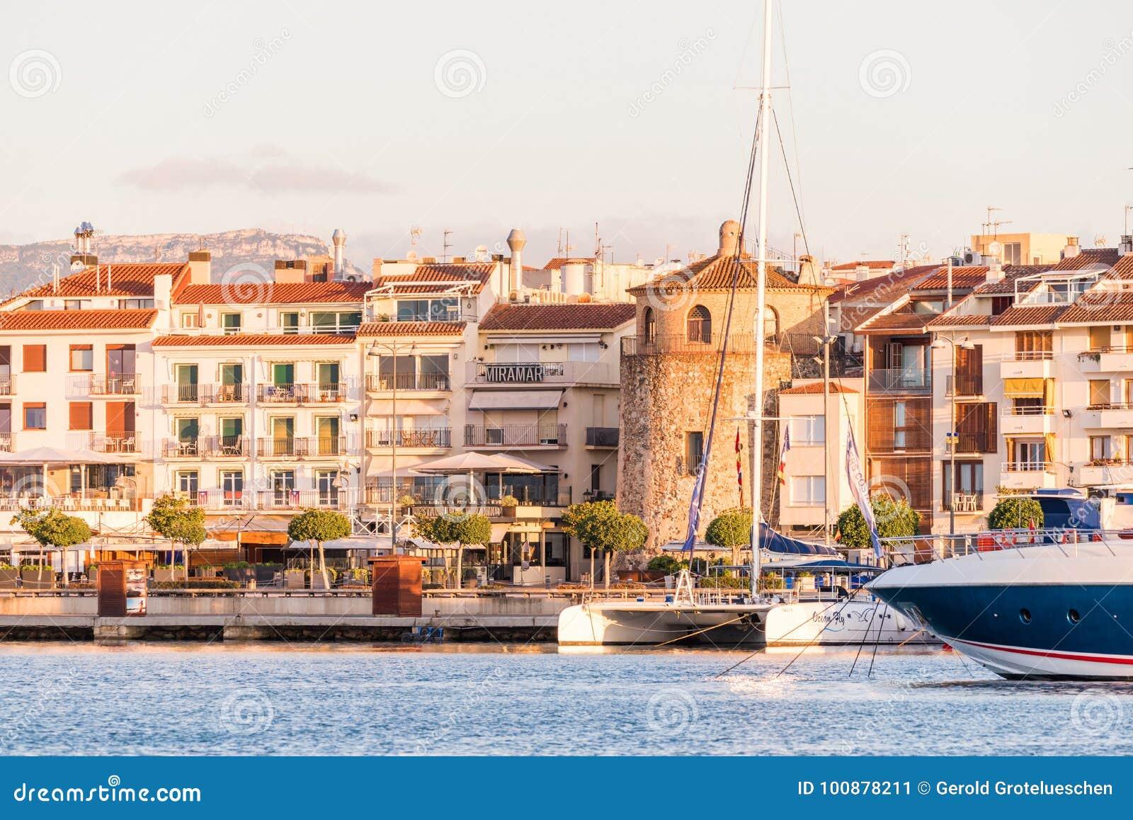 CAMBRILS, SPAIN - SEPTEMBER 16, 2017: View of port and museu d`Hist`ria de Cambrils - Torre del Port. Copy space for text