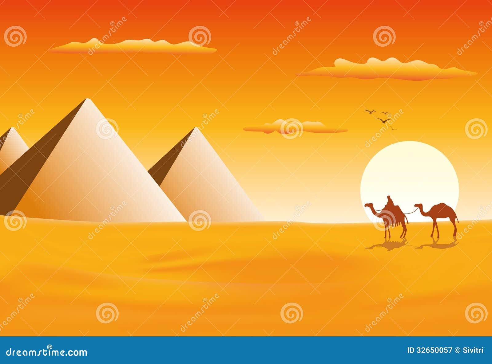Camel Caravan At The Pyramids Of Giza Royalty Free Stock Photography ...