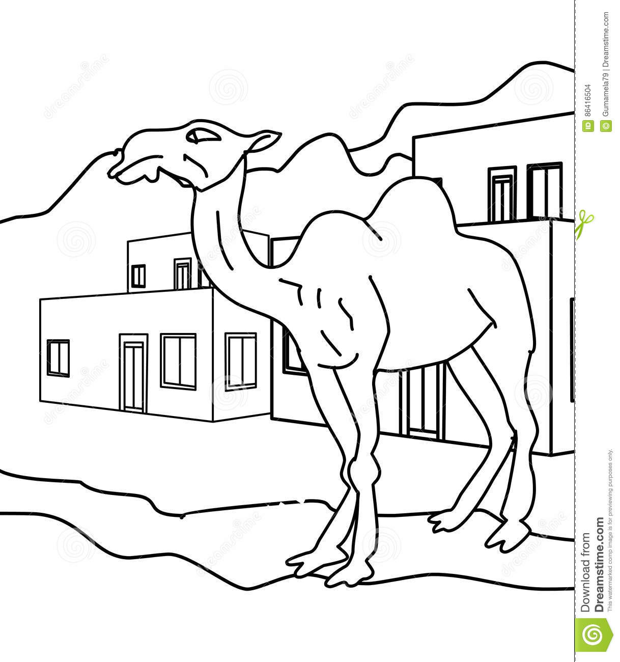 Camel coloring page stock illustration. Illustration of elephant ...