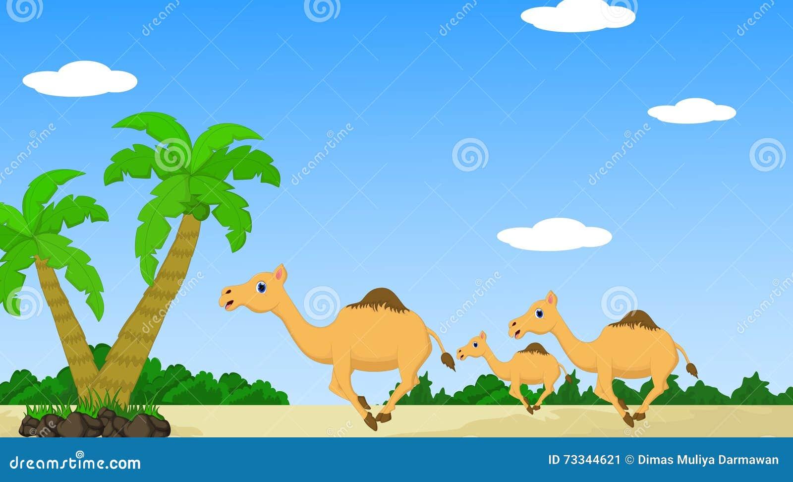 Camel With Desert Landscape Background Stock Illustration