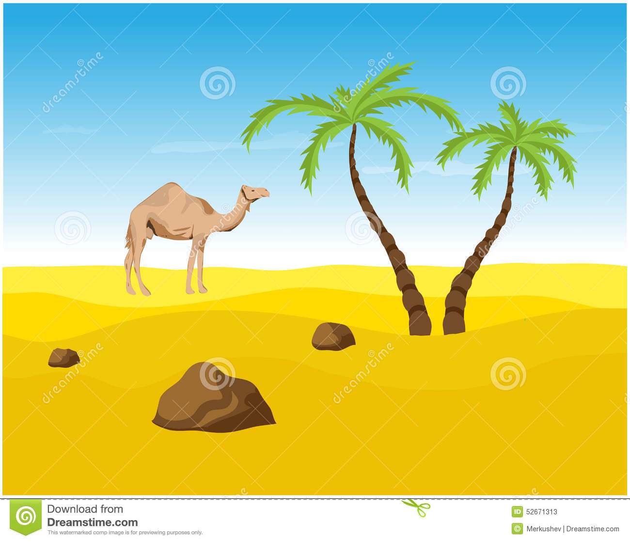 Camel And Palms In The Desert Oasis Stock Vector Illustration Of