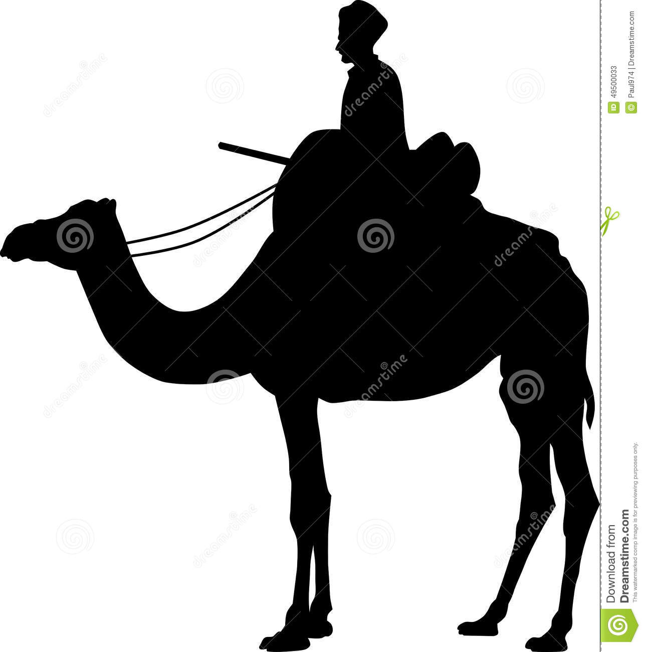 Simple illustration of Camel silhouette on white background.