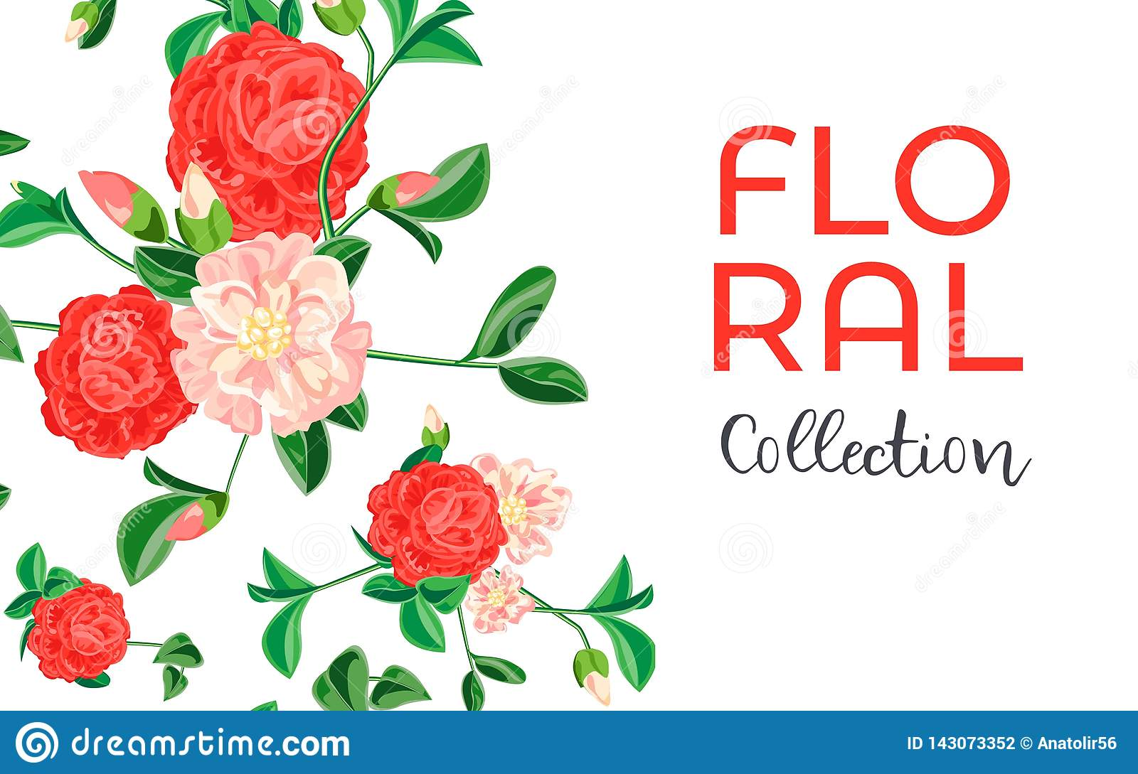 Camellia flower collection concept banner, cartoon style