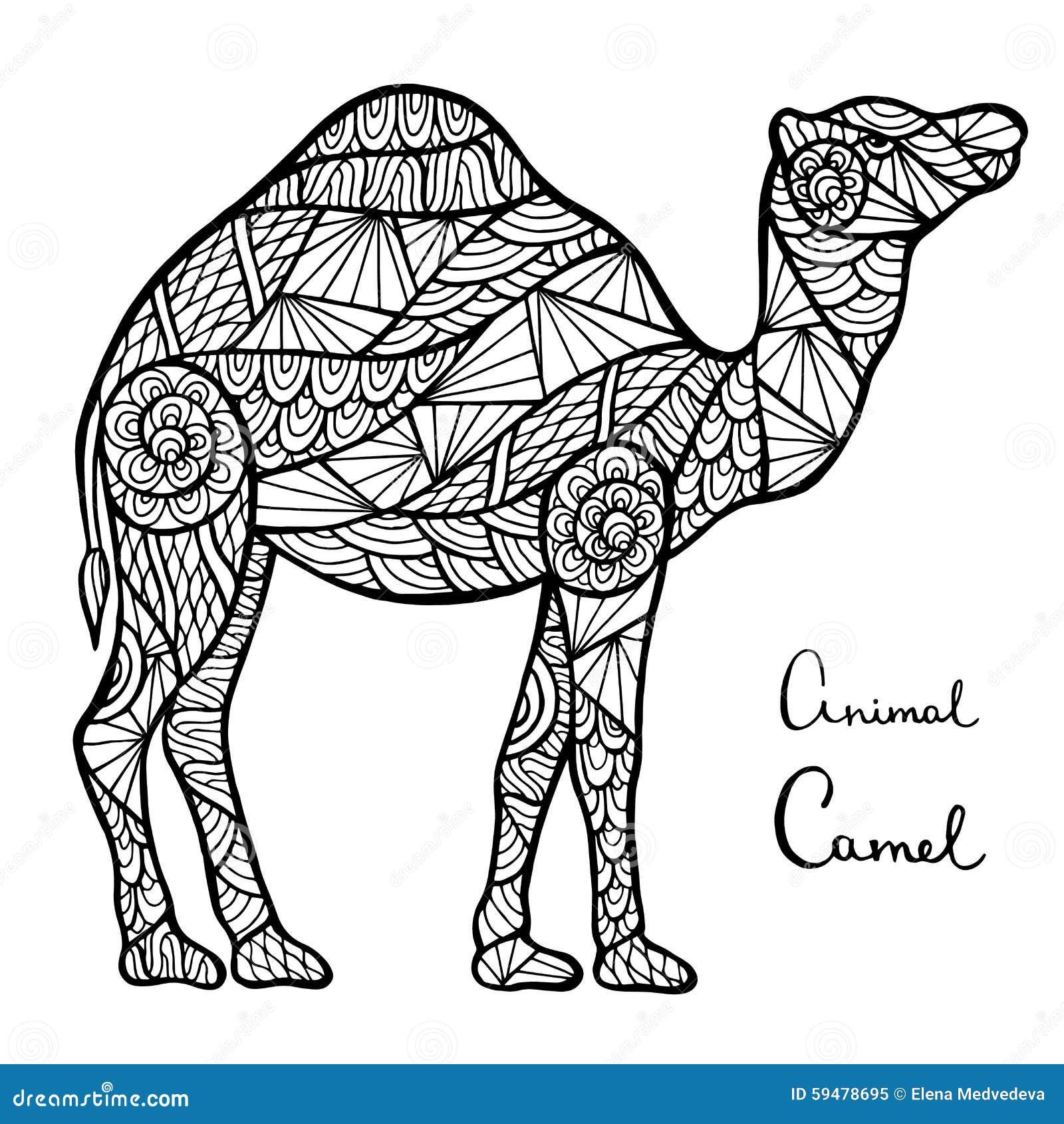 Camello de Zentangle ilustración del vector. Ilustración de desierto ...