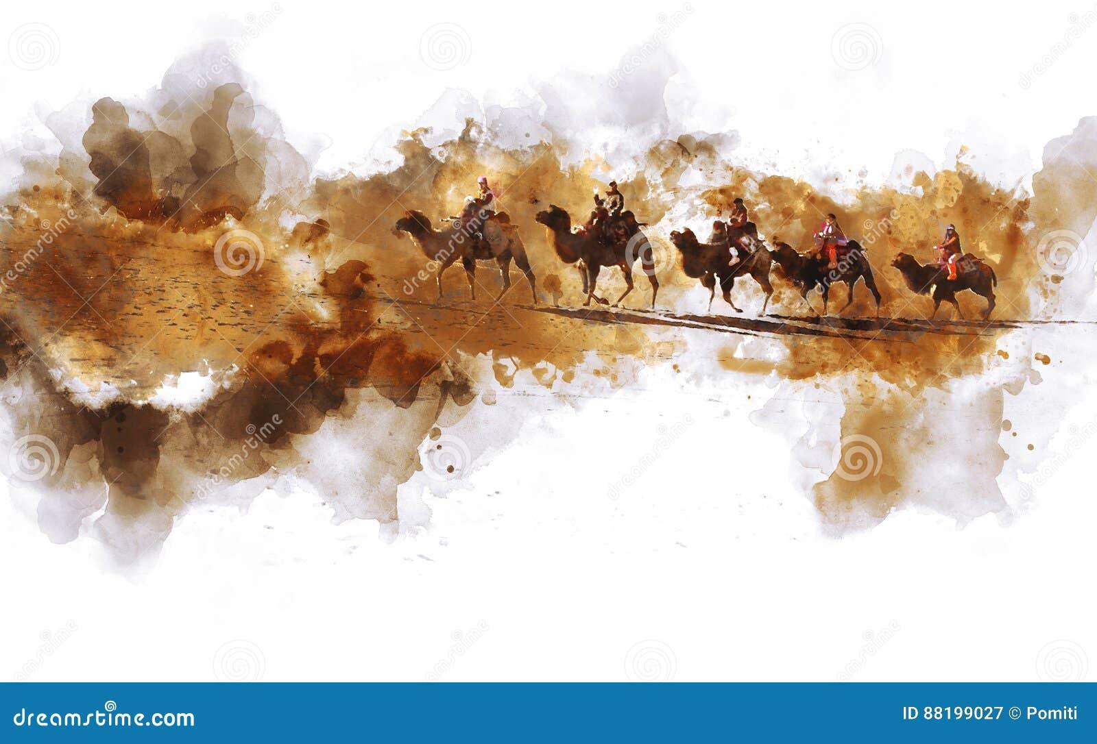 Camellos y gente que caminan en la duna de arena