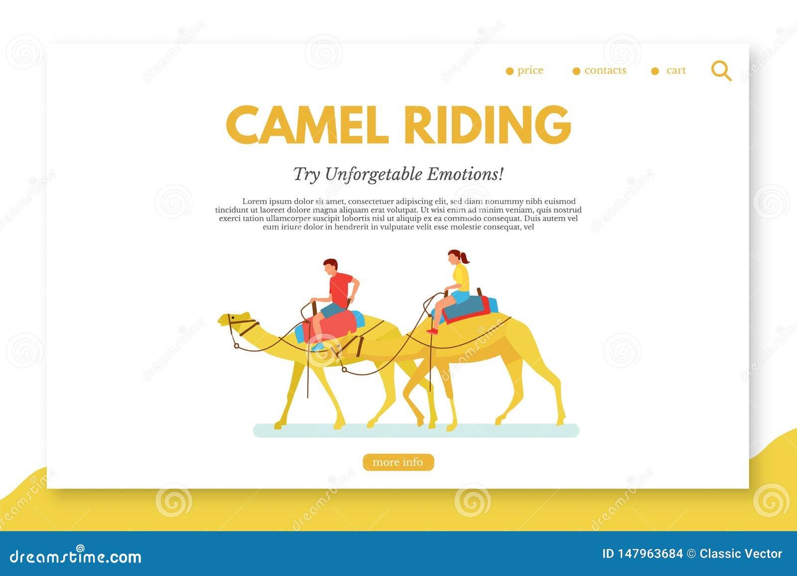Camelo que monta o molde liso da página da aterrissagem do vetor