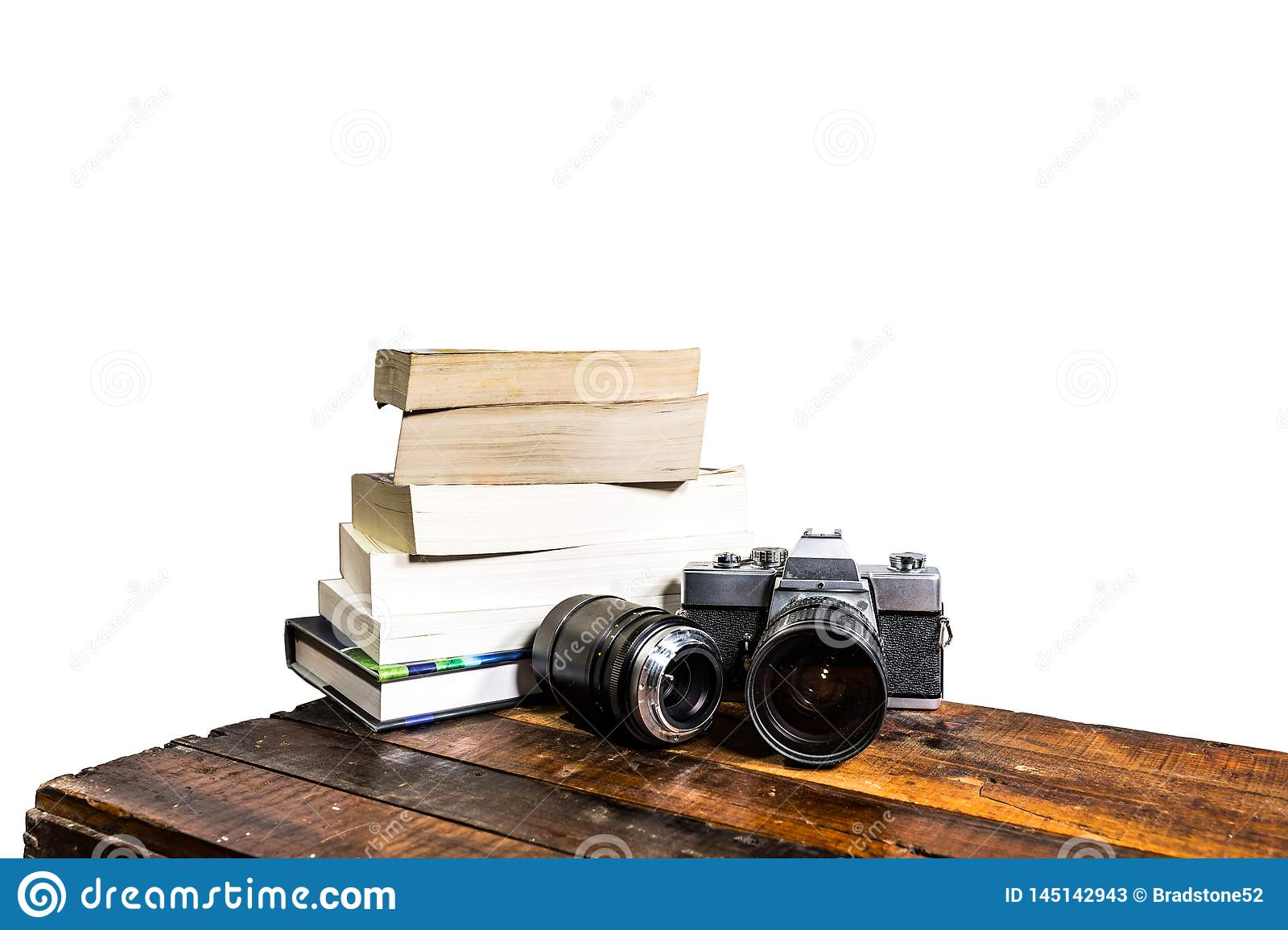 Camera Books Wood Abstract on white