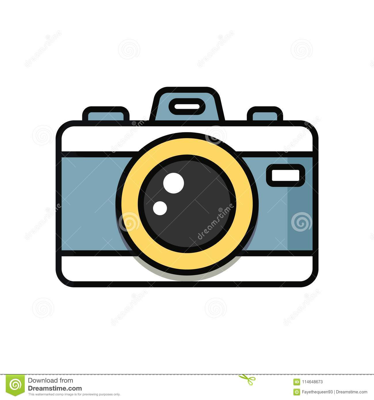 Camera Cartoon Isolated On White Background. Stock ...