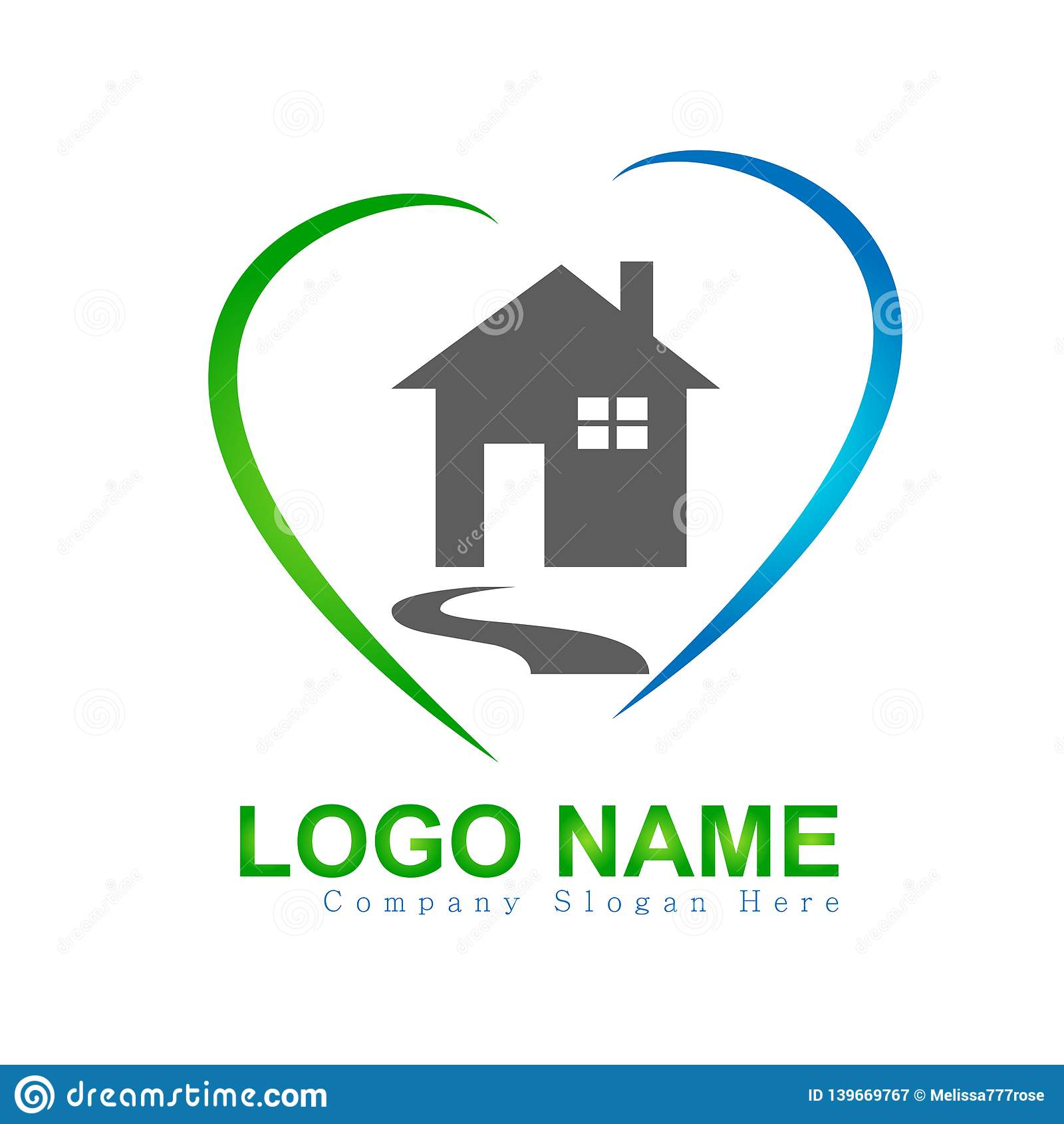 Camera, casa, bene immobile, logo di amore del cuore, icona della costruzione di aumento di simbolo di architettura per la vostra