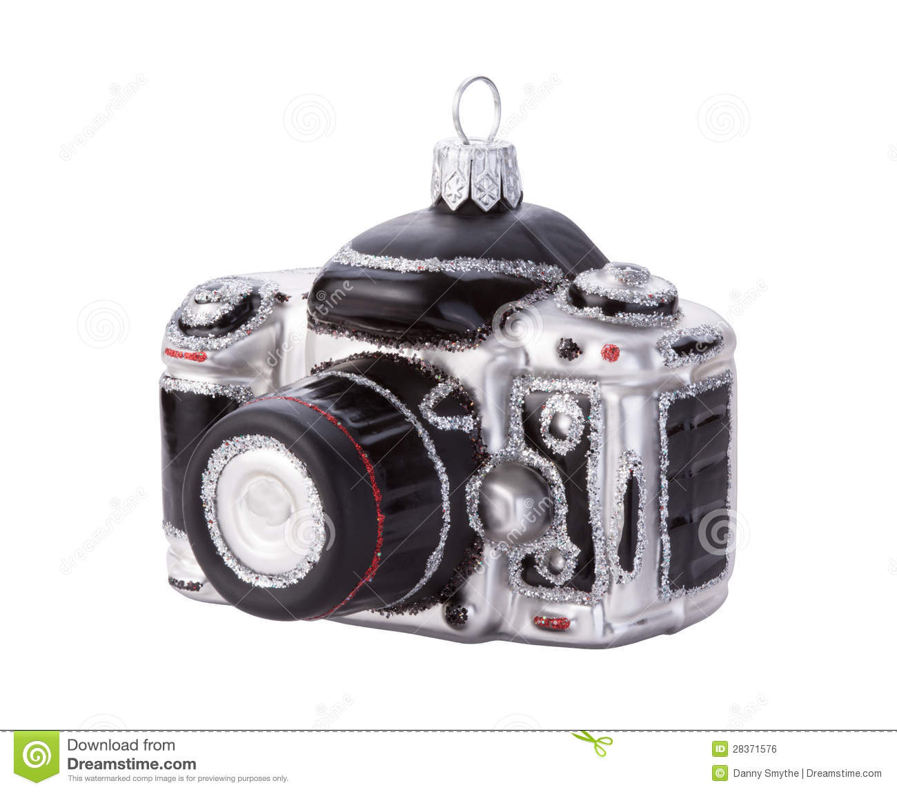 Camera Christmas Ornament Isolated Stock Photo - Image of ...