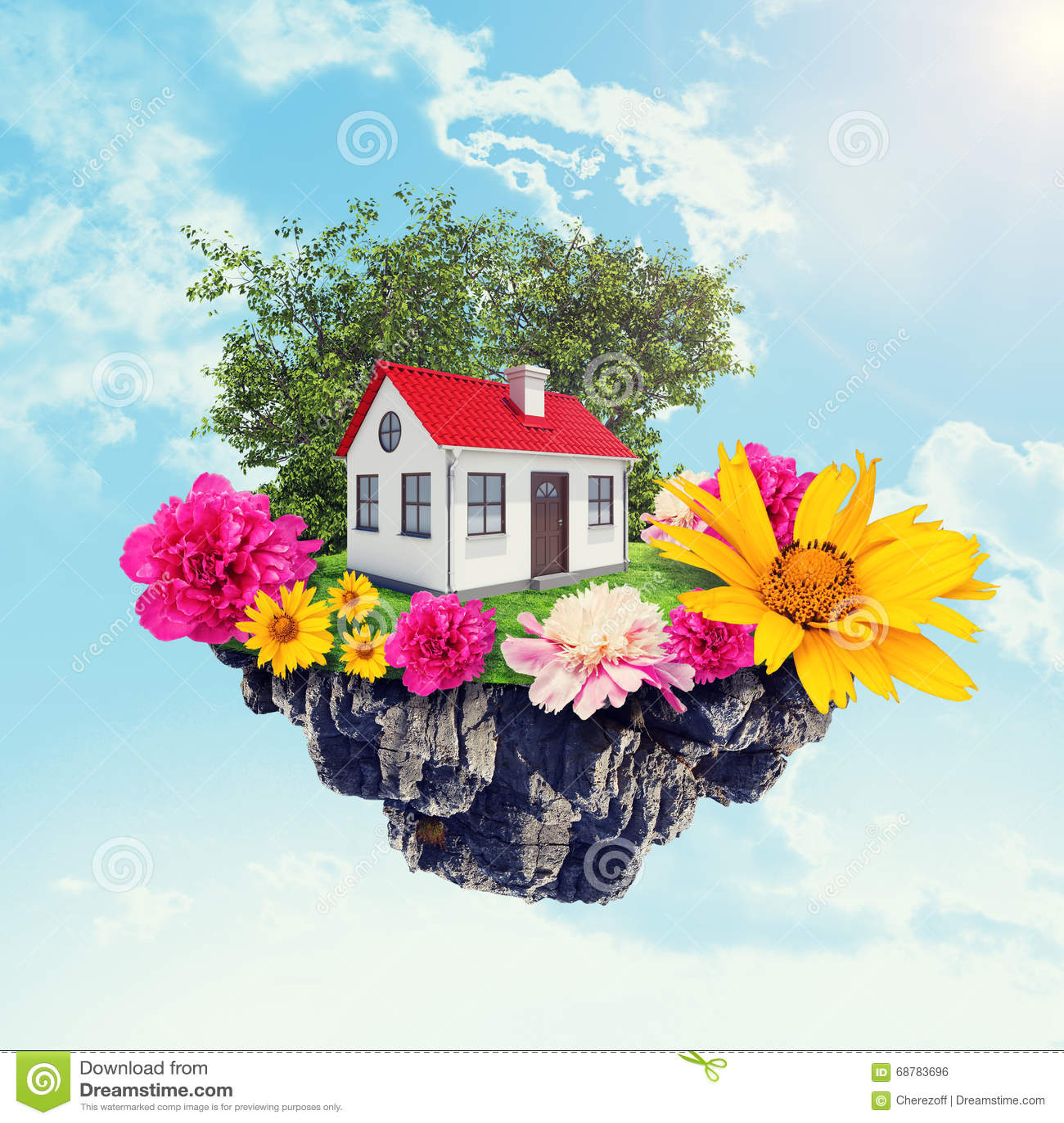 Camera con i fiori sull isola