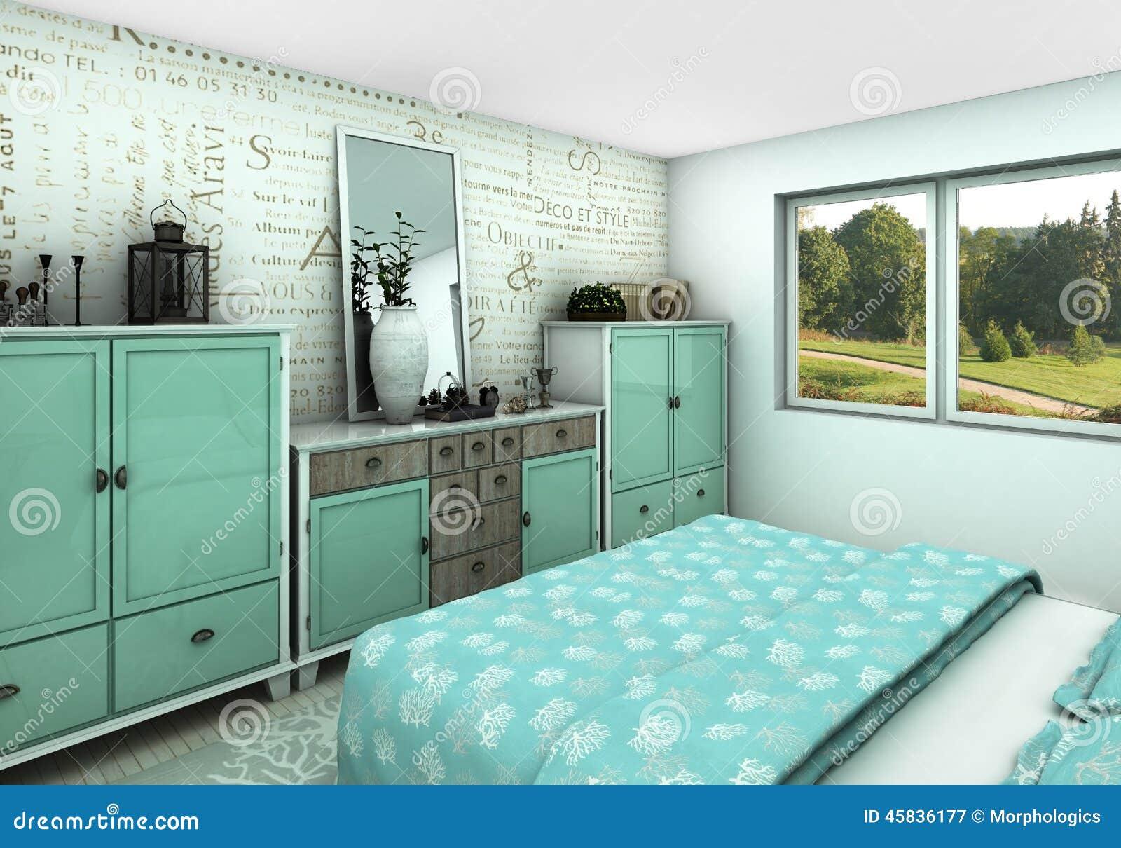 Camera Da Letto Parete Turchese : Camera da letto accogliente del turchese illustrazione di stock