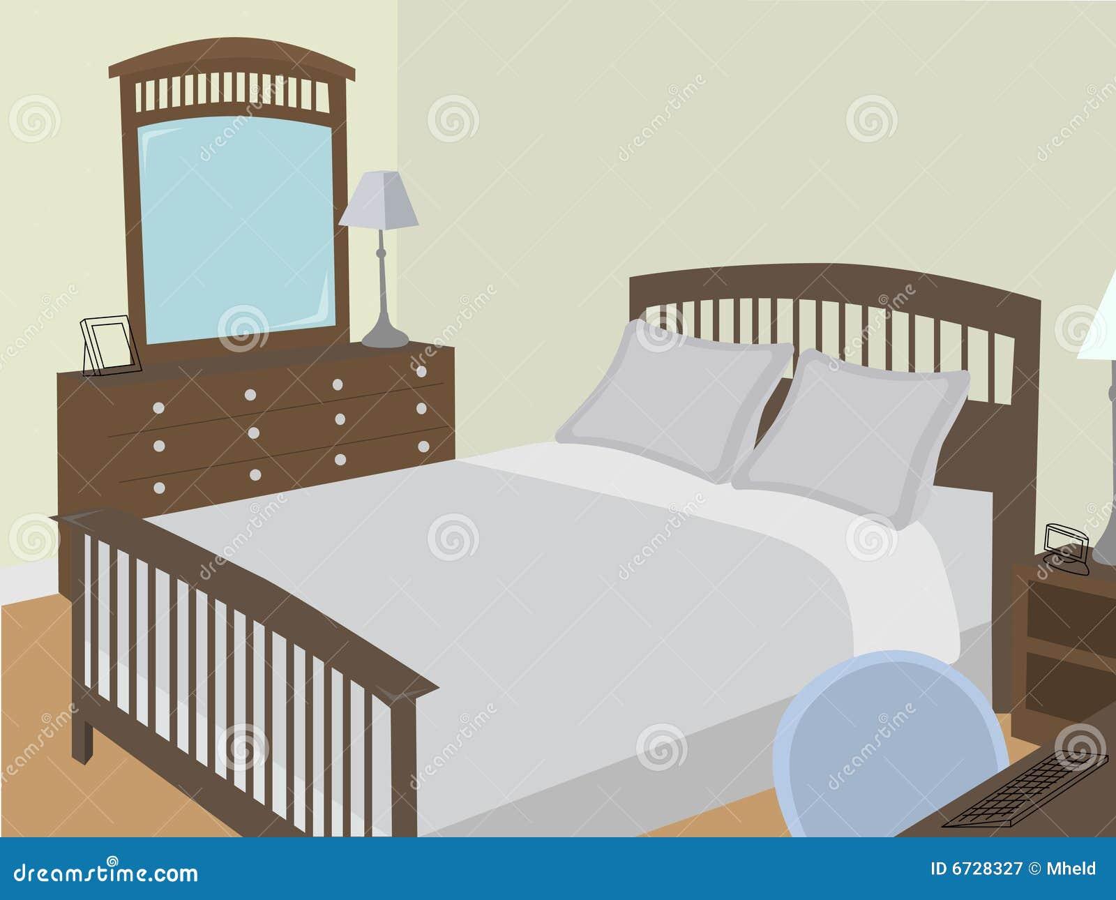 camera da letto ad angolo con gli oggetti stilizzati