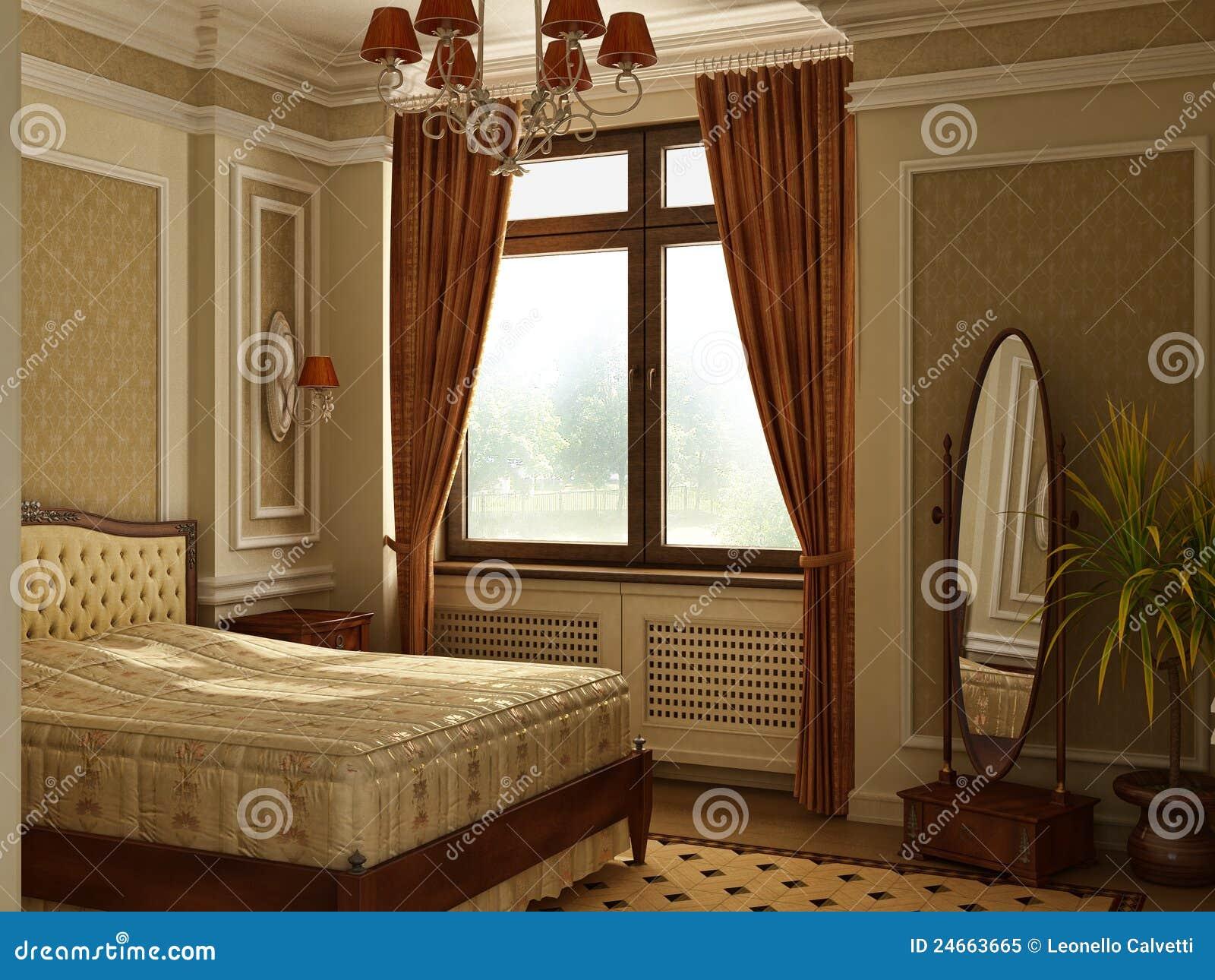 Camera da letto antica classica di stile illustrazione di for Camera da letto stile tudor