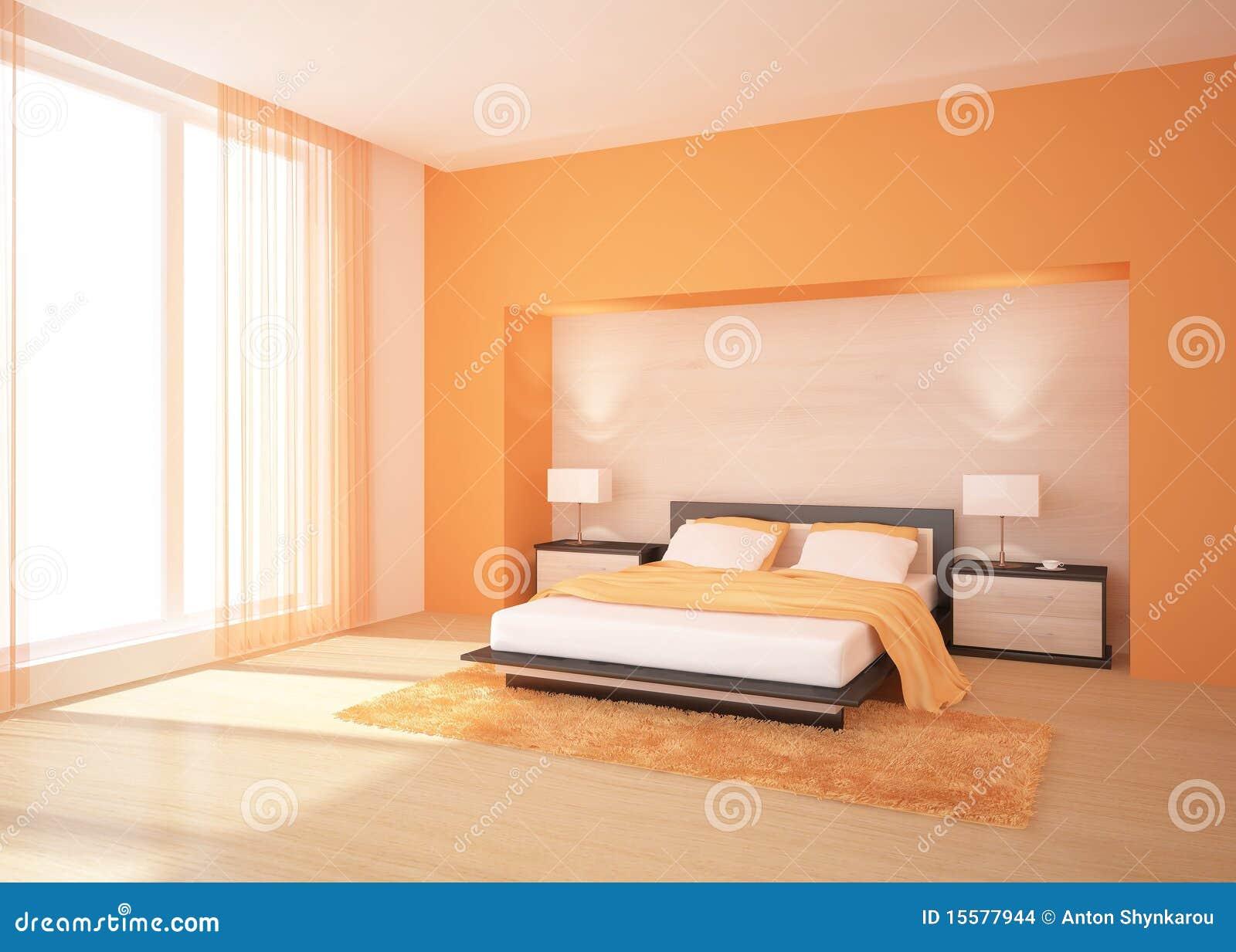 Camera da letto arancione illustrazione di stock. Immagine di nuovo - 15577944