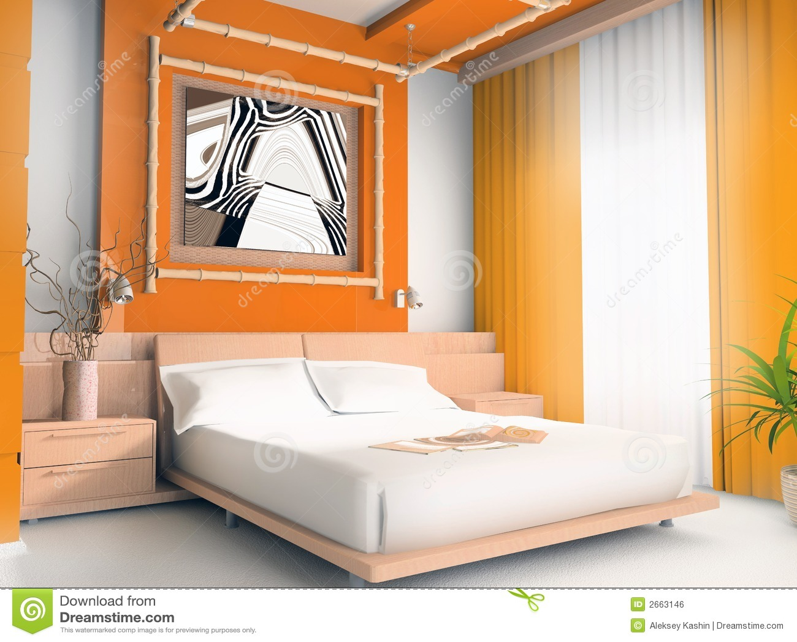 camera da letto arancione immagine stock libera da diritti ... - Camera Da Letto Arancione
