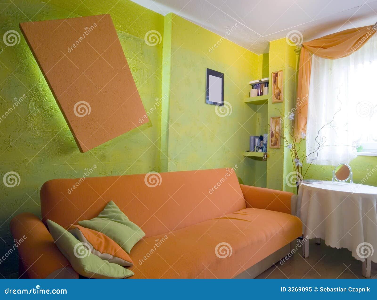 Colore Arancione Pareti Camera Da Letto.Camera Da Letto Arancione Immagine Stock Immagine Di Interiori
