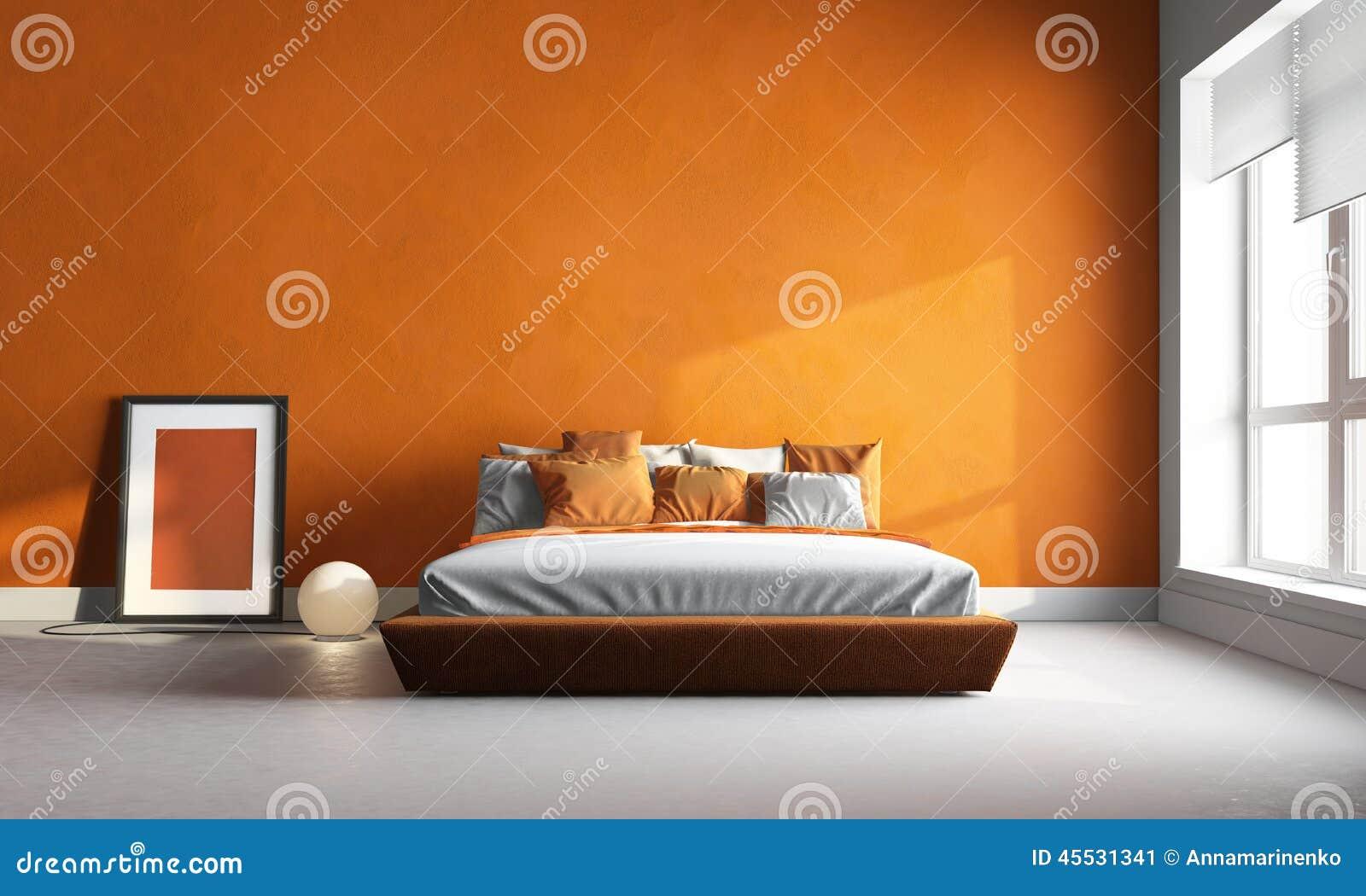 Camera da letto arancione immagine stock. Immagine di interno - 45531341