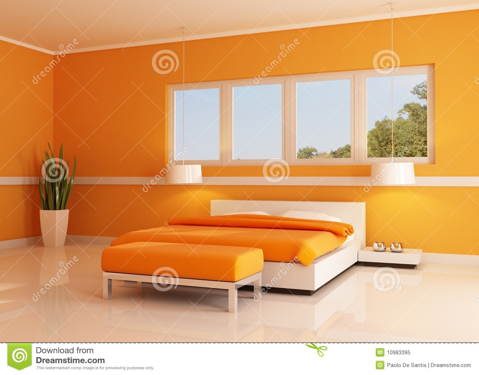 Camera da letto arancione moderna fotografia stock libera for Camera da letto vittoriana buia