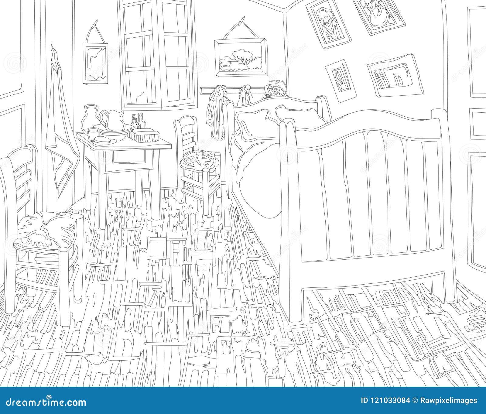 Camera Da Letto In Arles 1888 Dalla Pagina Adulta Di Coloritura Di ...
