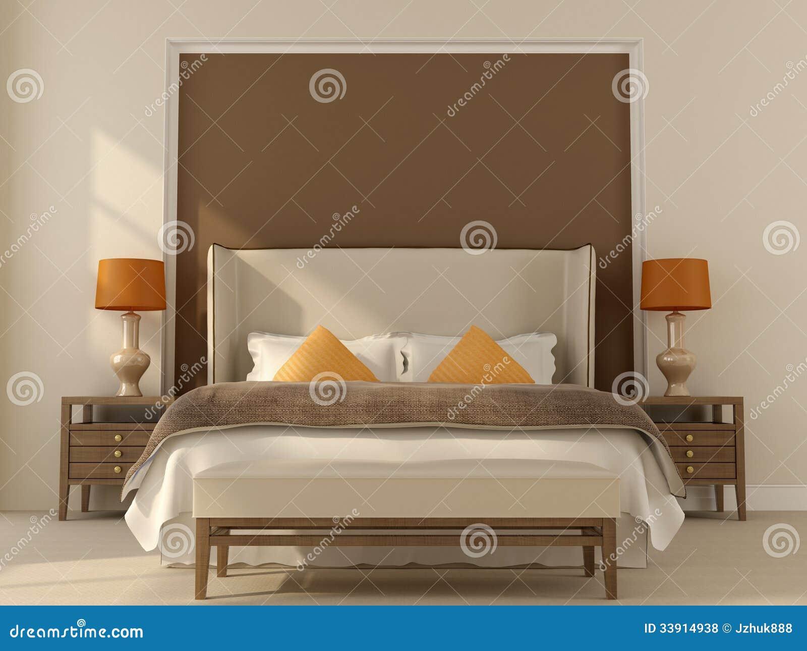 Camera da letto beige con la decorazione arancio - Sedia camera da letto ...