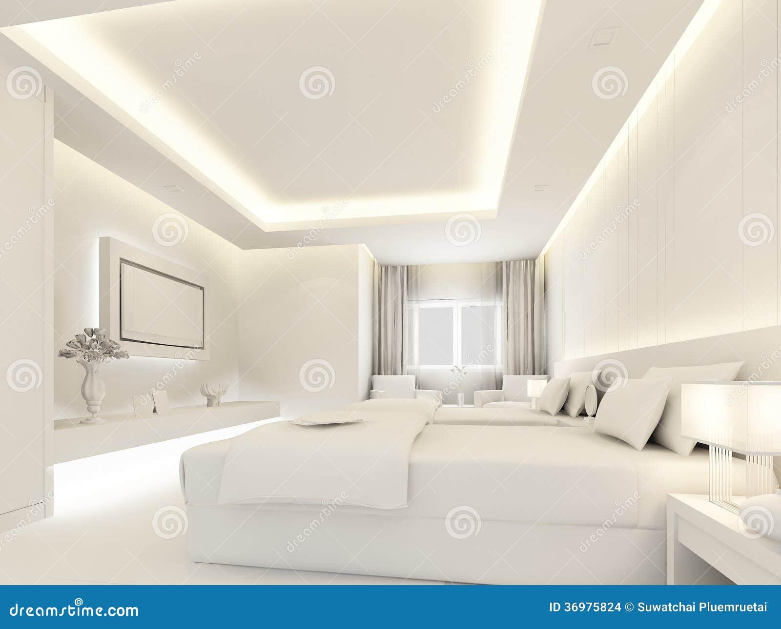 Camera da letto bianca della parete interno 3d - Camera da letto laccata bianca ...