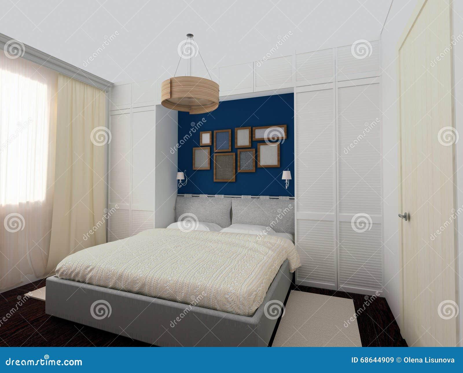 Camera Da Letto Blu Notte : Camera da letto bianca e blu illustrazione di stock