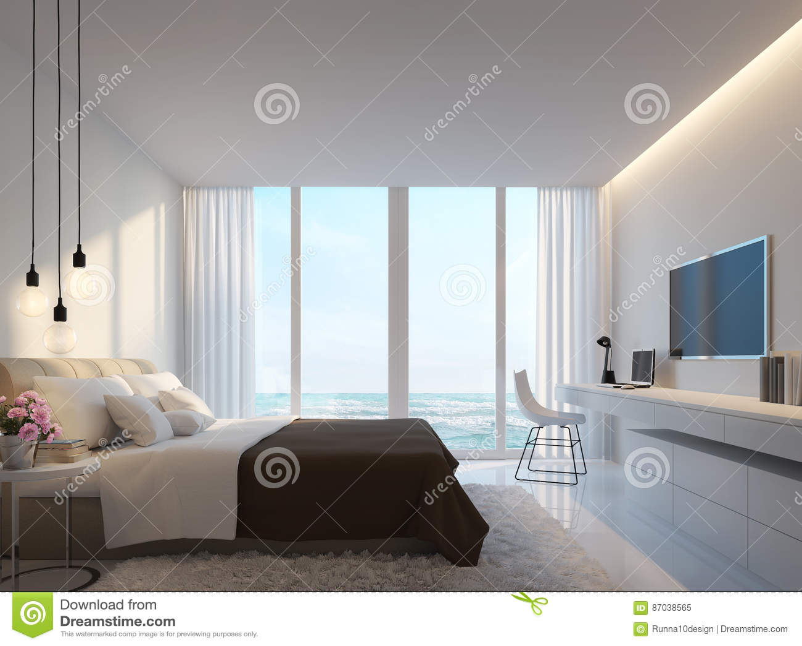 Camera Da Letto Bianca Moderna Con La Rappresentazione Di Vista 3d ...