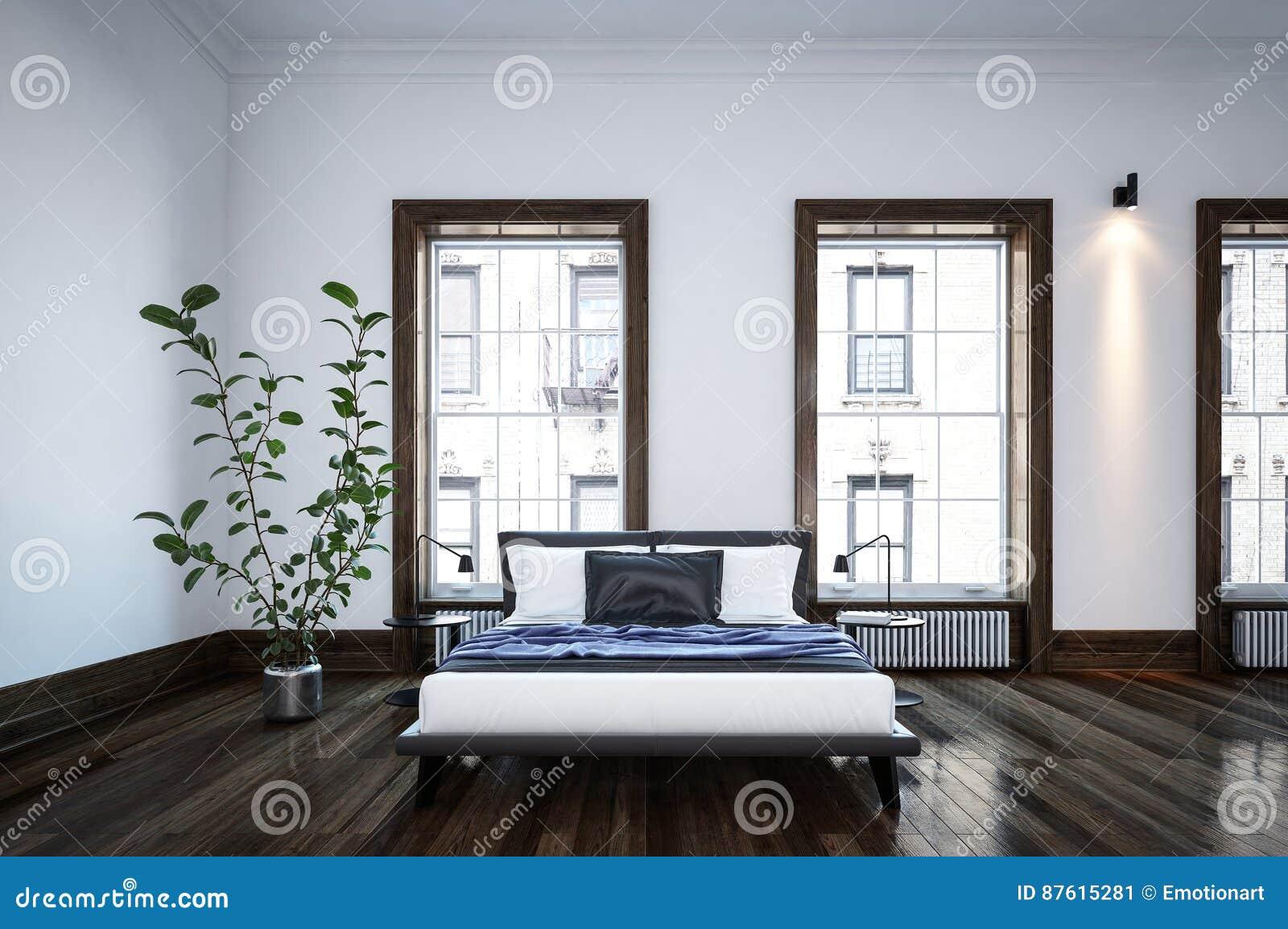 Camera Da Letto Bianco E Nero : Camera da letto in bianco e nero minimalista spaziosa ordinata