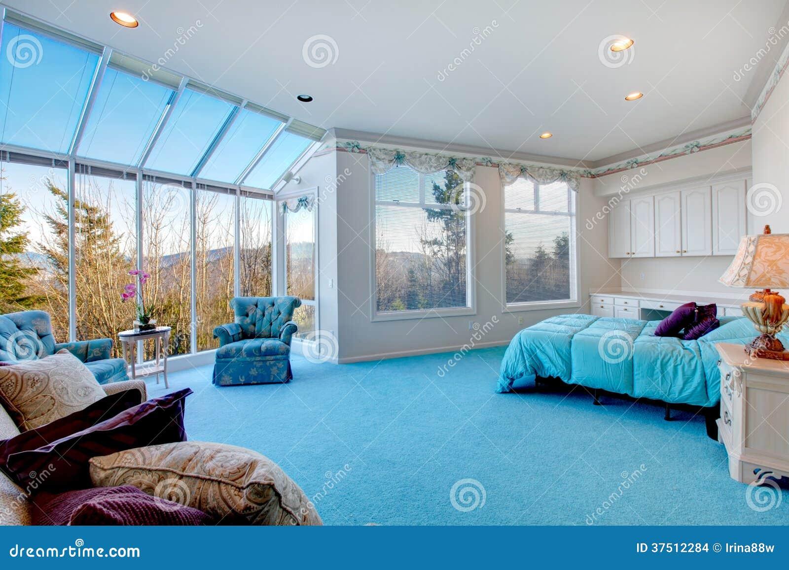 Parete Camera Da Letto Azzurra : Light Blue Bedroom with Carpet