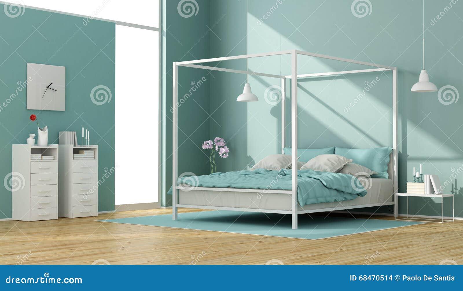 Camera da letto blu e bianca con il letto del baldacchino - Camera da letto con baldacchino ...