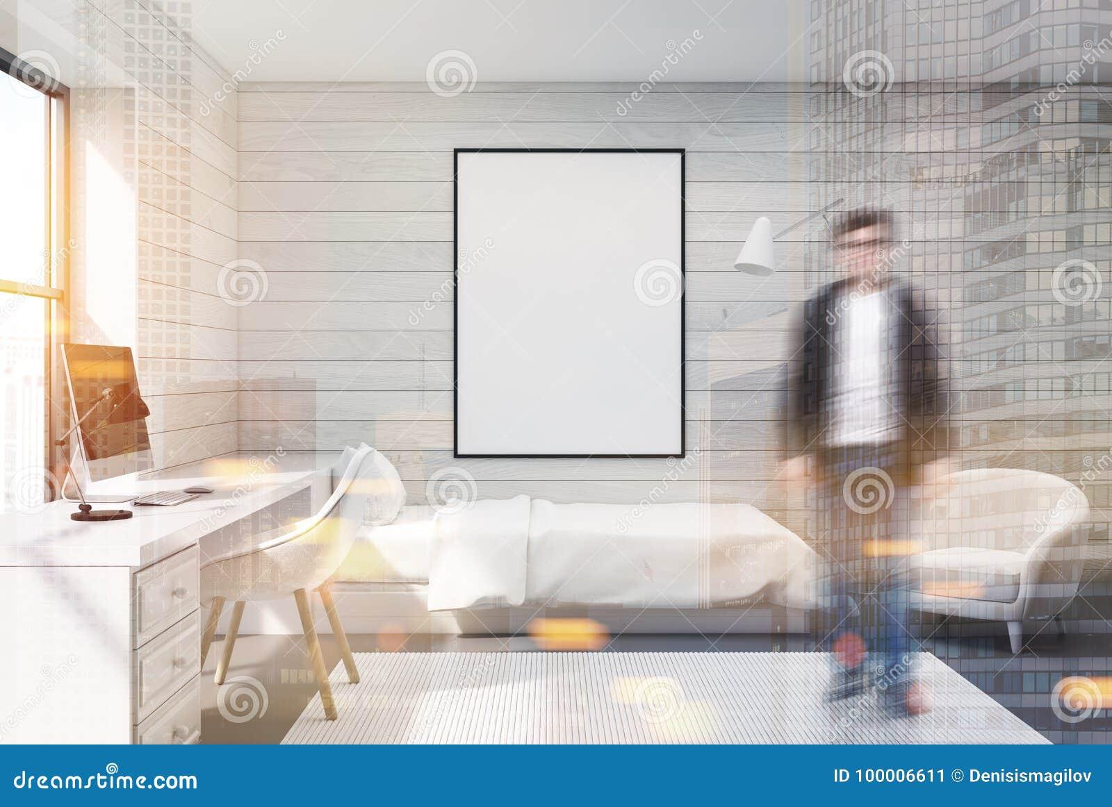 Camera Da Letto Legno Bianco : Camera da letto computer e manifesto di legno bianchi uomo