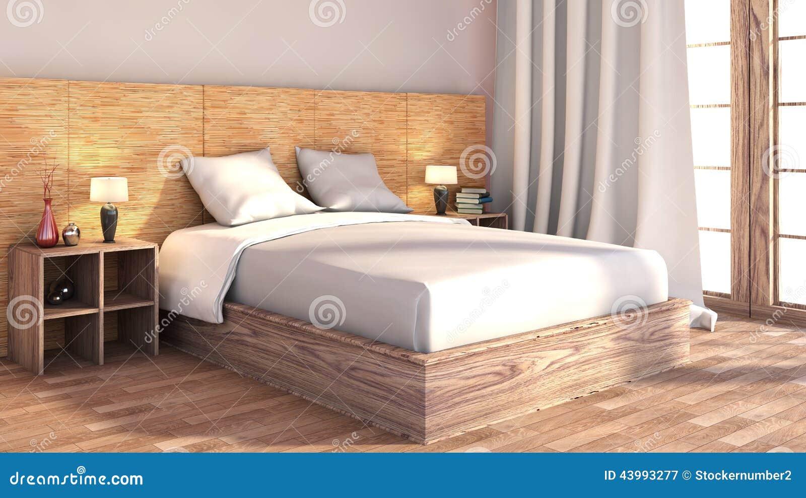 Camera da letto con disposizione di legno