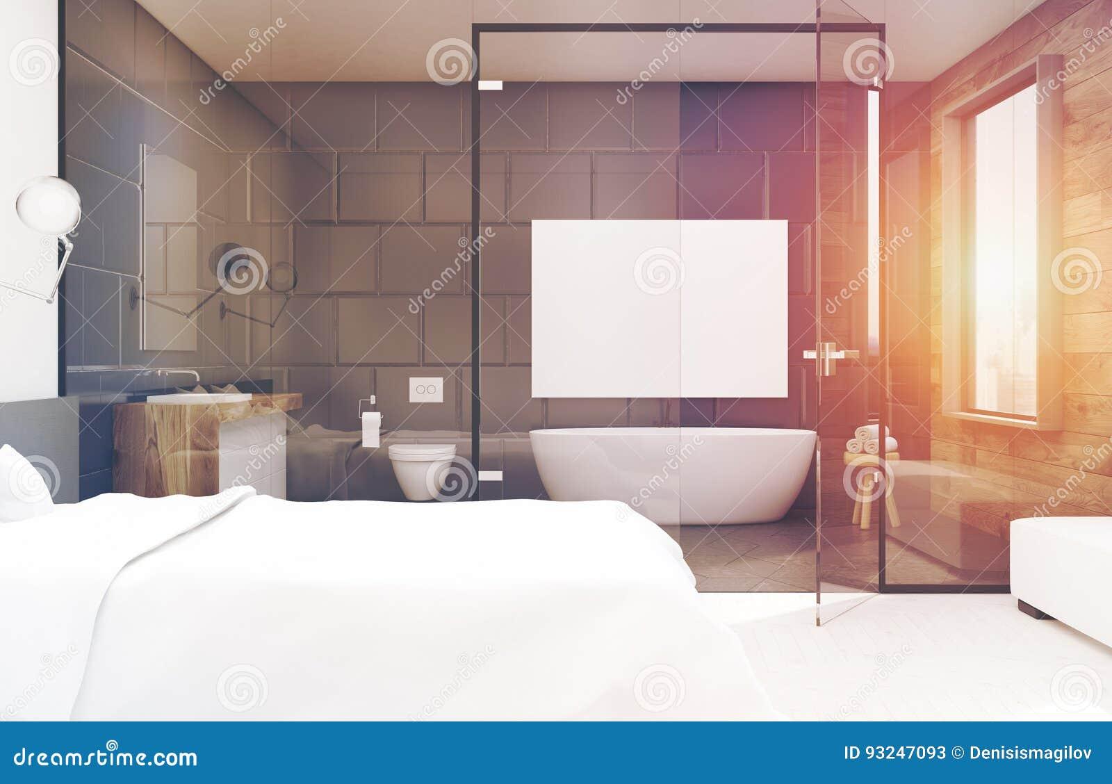 Bagno In Camera Con Vetro : Camera da letto con il bagno grigio parte anteriore tonificata